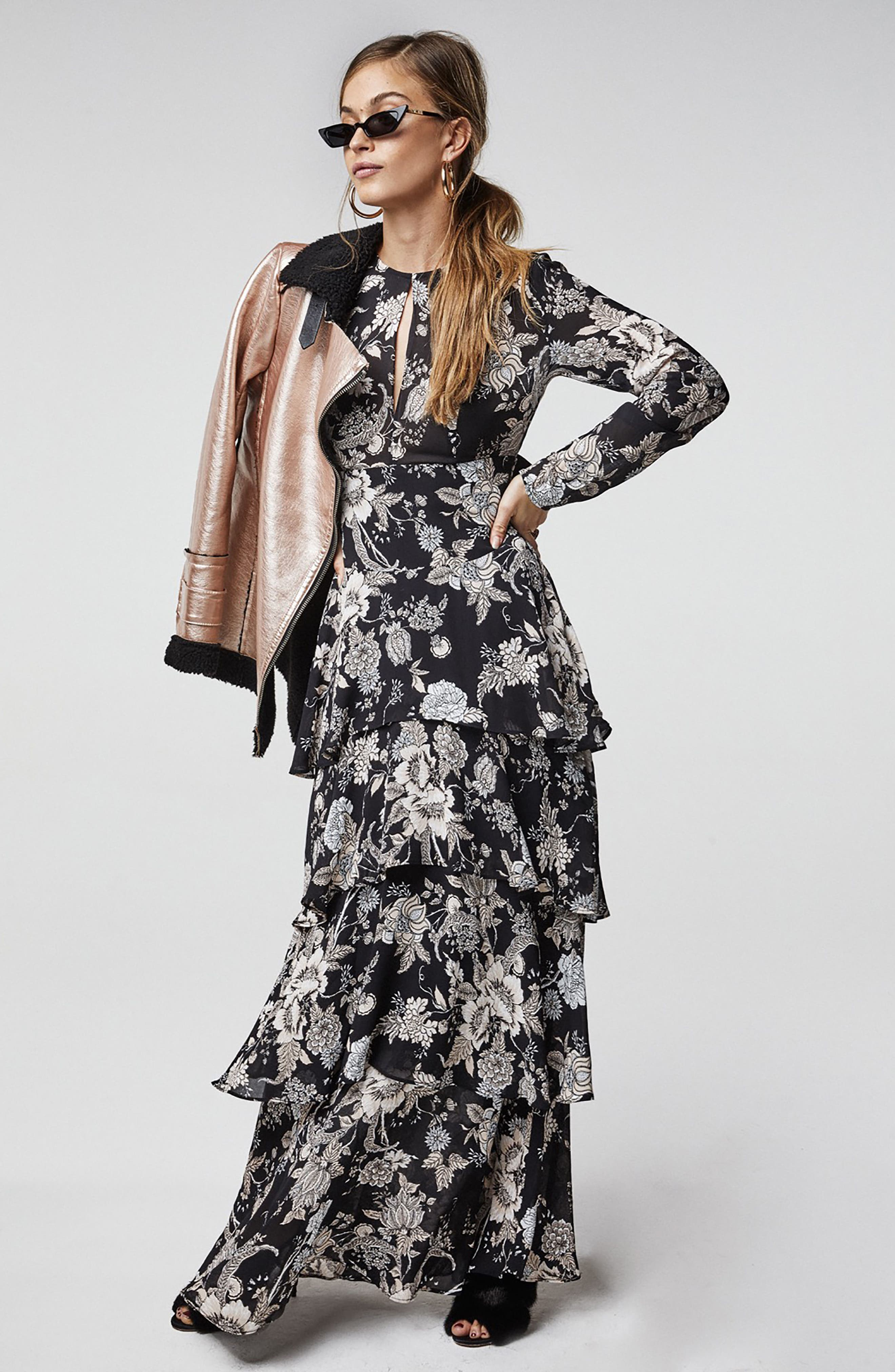 Amabella Tiered Maxi Dress,                             Alternate thumbnail 6, color,                             001