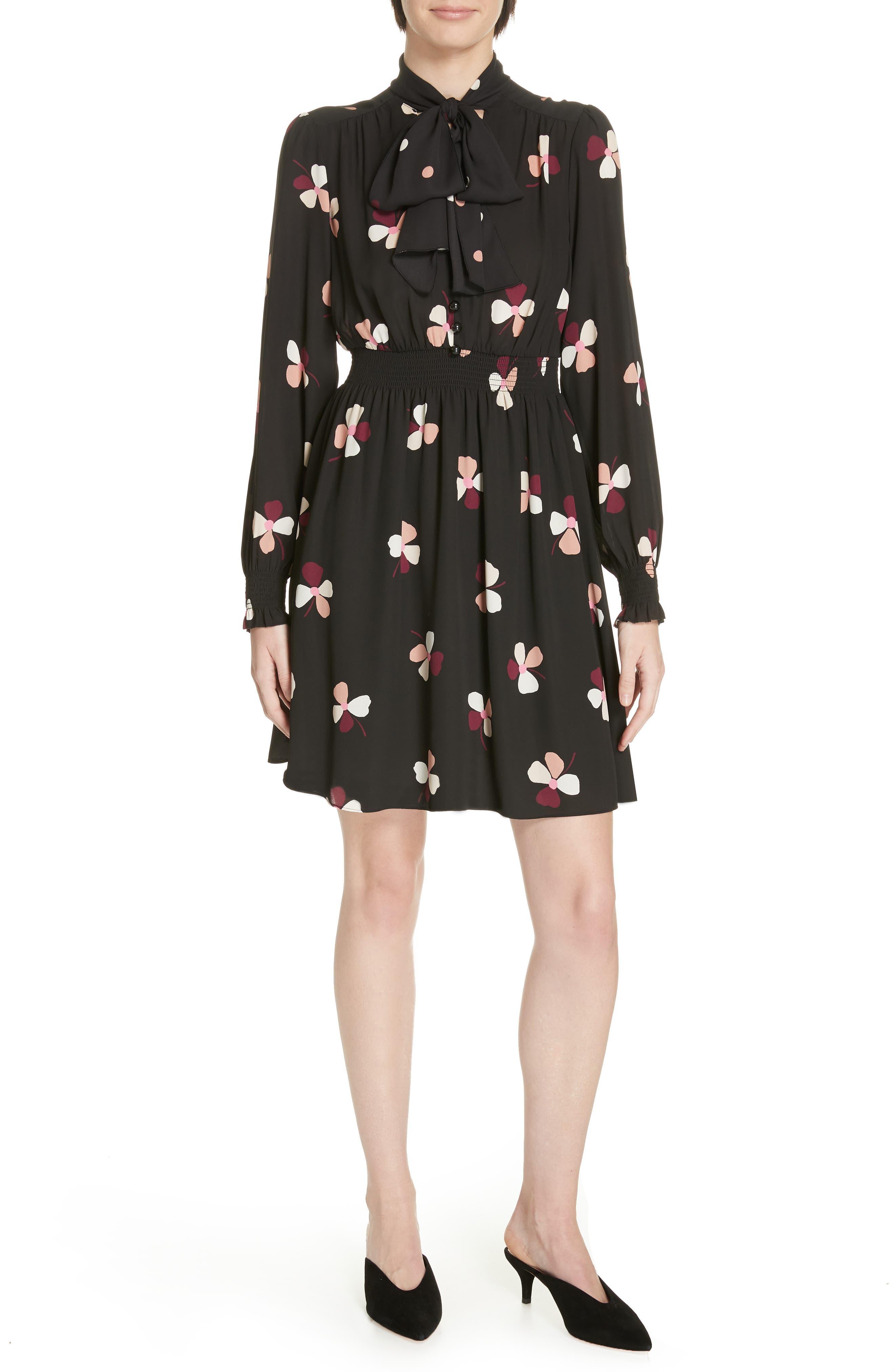 Kate Spade New York Dusk Buds Print Tie Neck Dress, Black