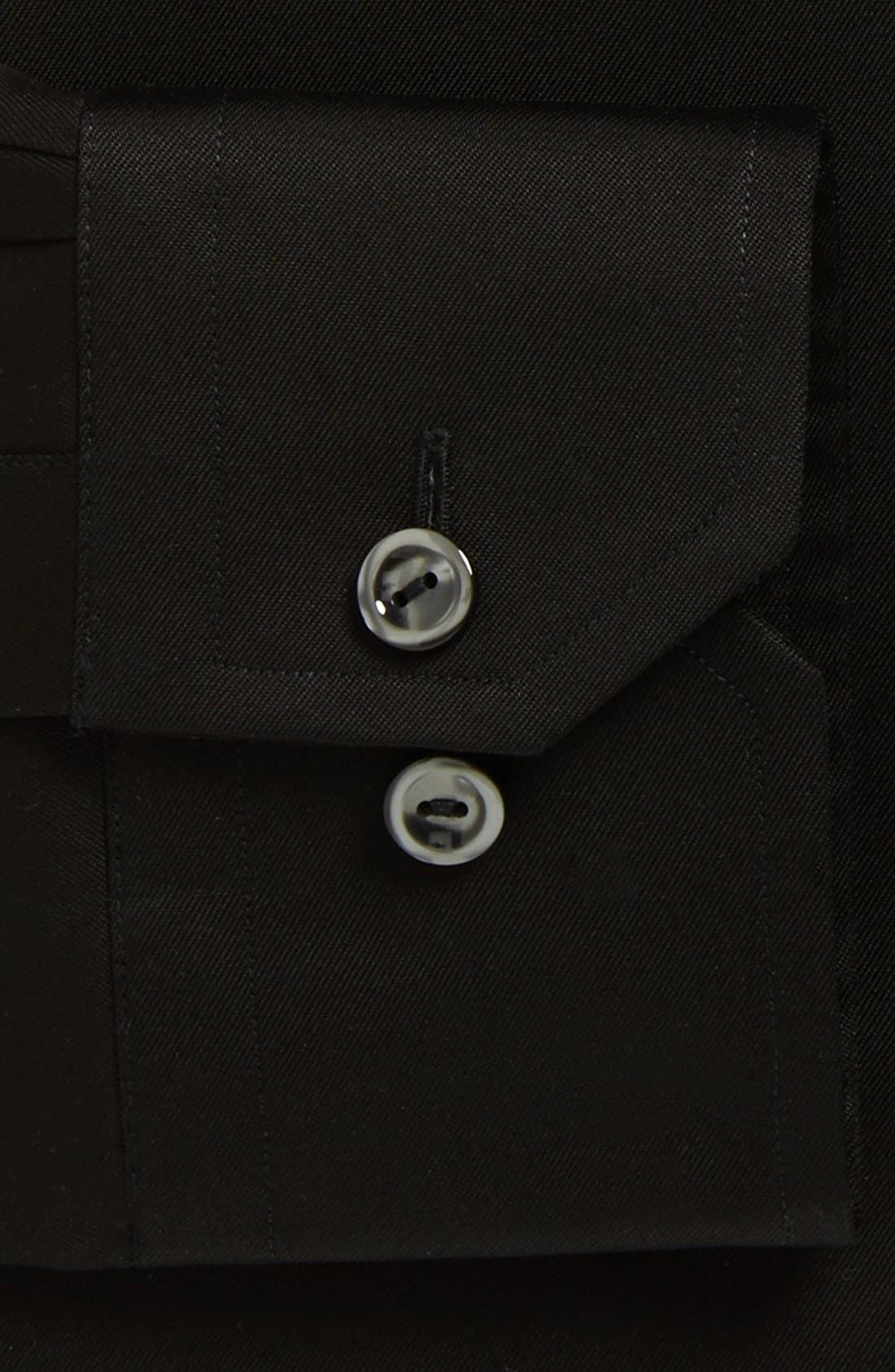 Slim Fit Twill Dress Shirt,                             Alternate thumbnail 2, color,                             BLACK