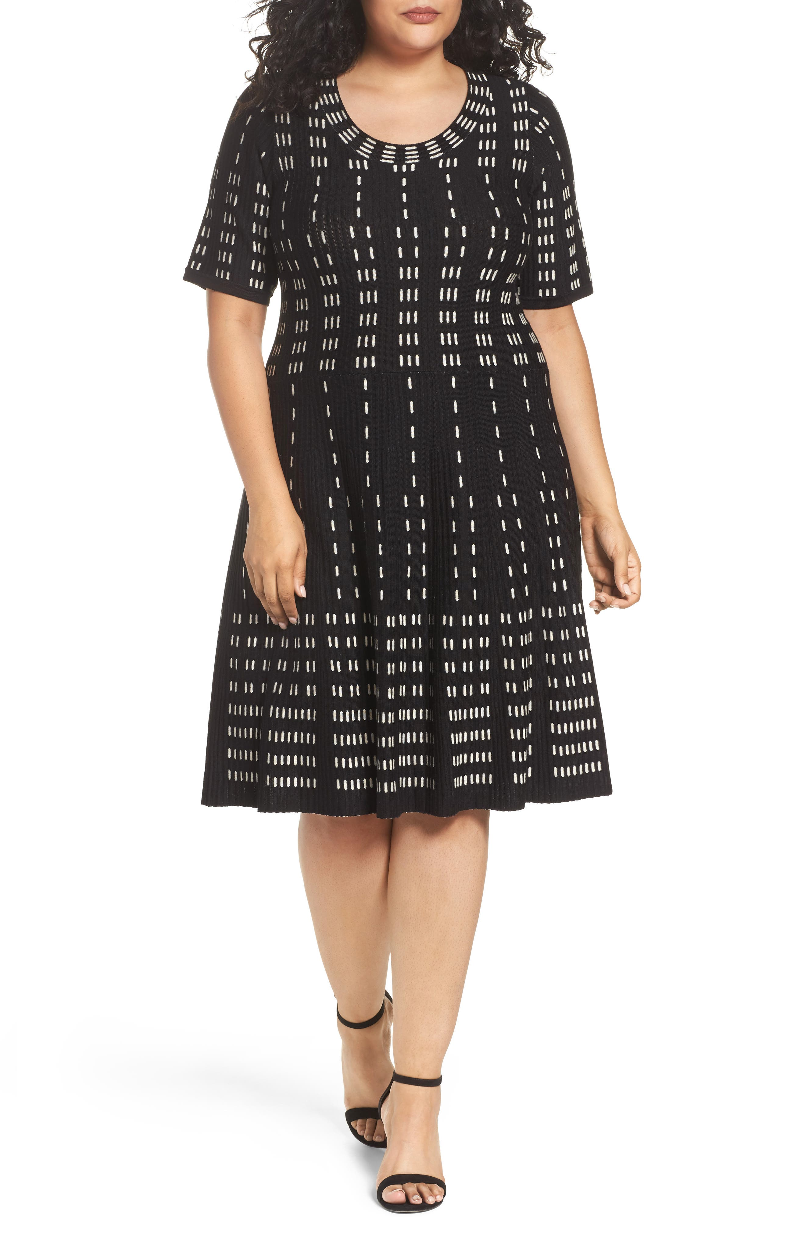 Fit & Flare Sweater Dress,                             Main thumbnail 1, color,                             001