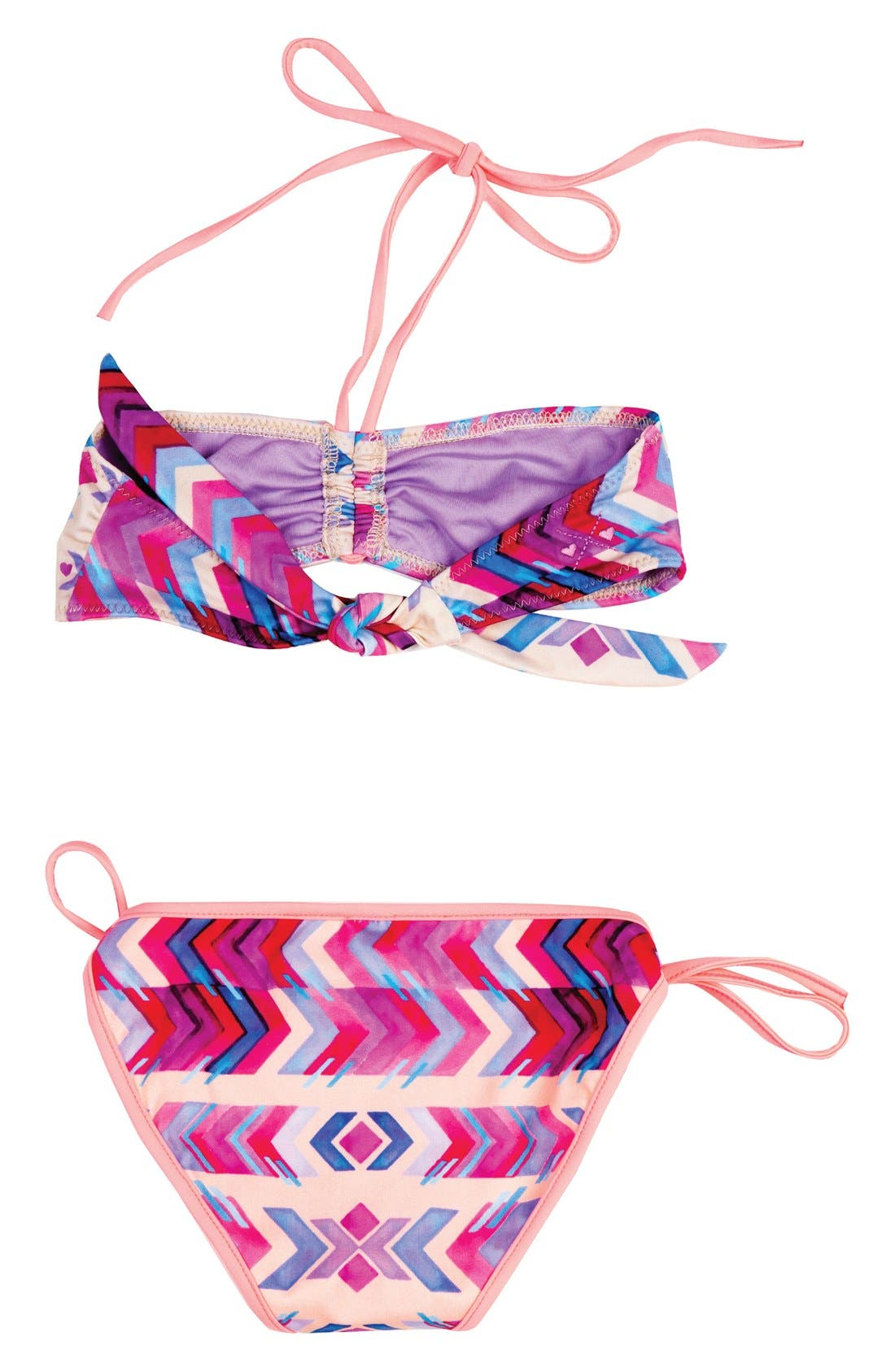 Endless Summer Two-Piece Reversible Bandeau Swimsuit,                             Alternate thumbnail 4, color,                             100