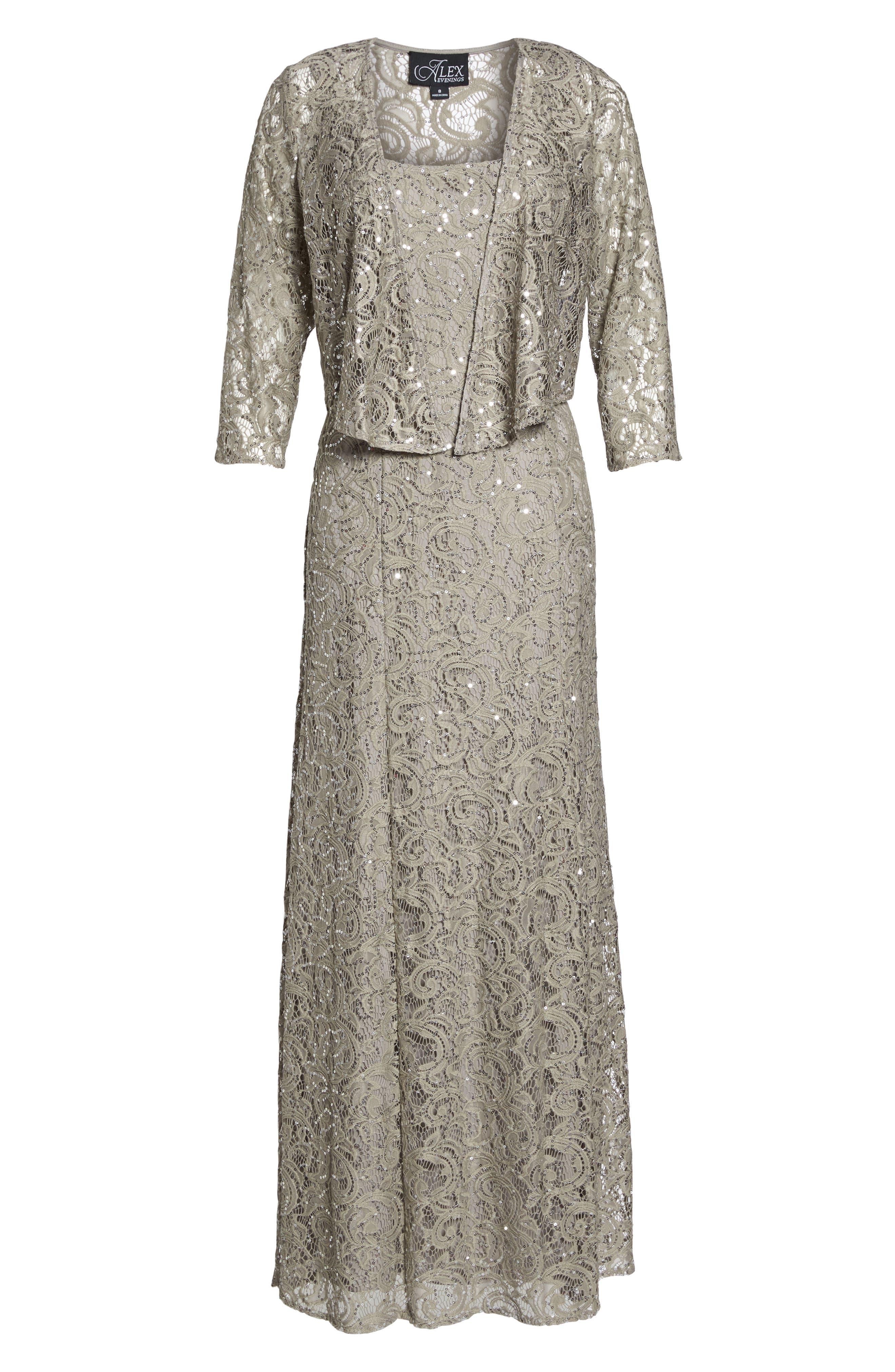 Sequin Lace Jacket Gown,                             Alternate thumbnail 6, color,                             020
