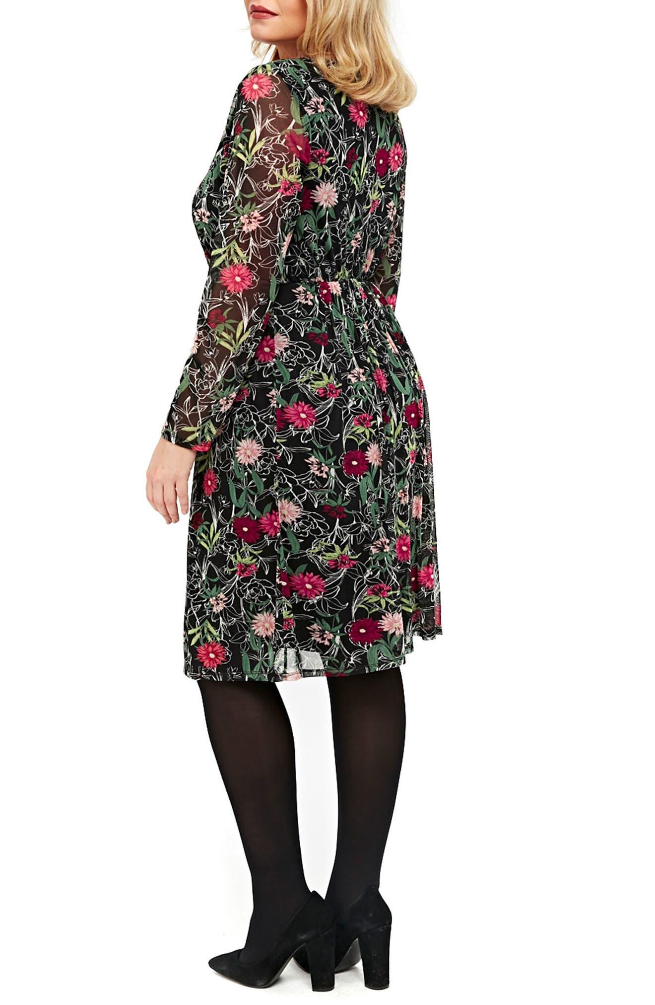 Floral Print Mesh Fit & Flare Dress,                             Alternate thumbnail 2, color,                             005