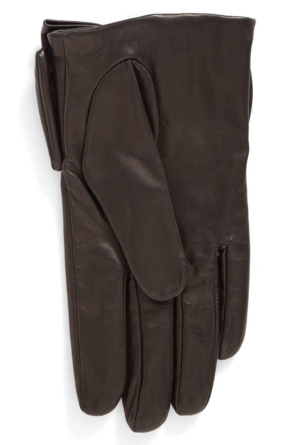 dorothy bow leather gloves,                             Alternate thumbnail 2, color,                             001