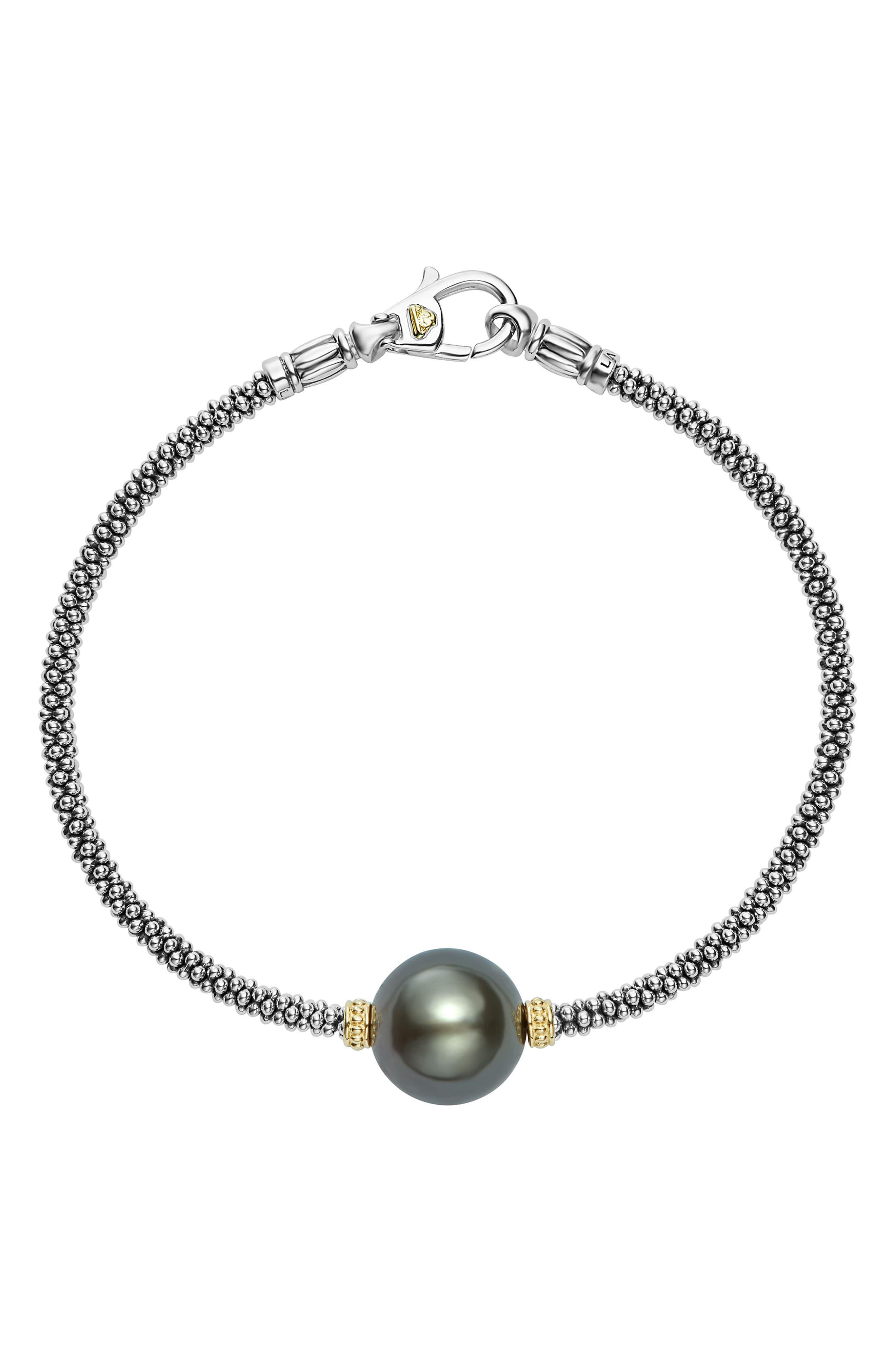 Luna Pearl Single Station Bracelet,                             Main thumbnail 1, color,                             BLACK PEARL