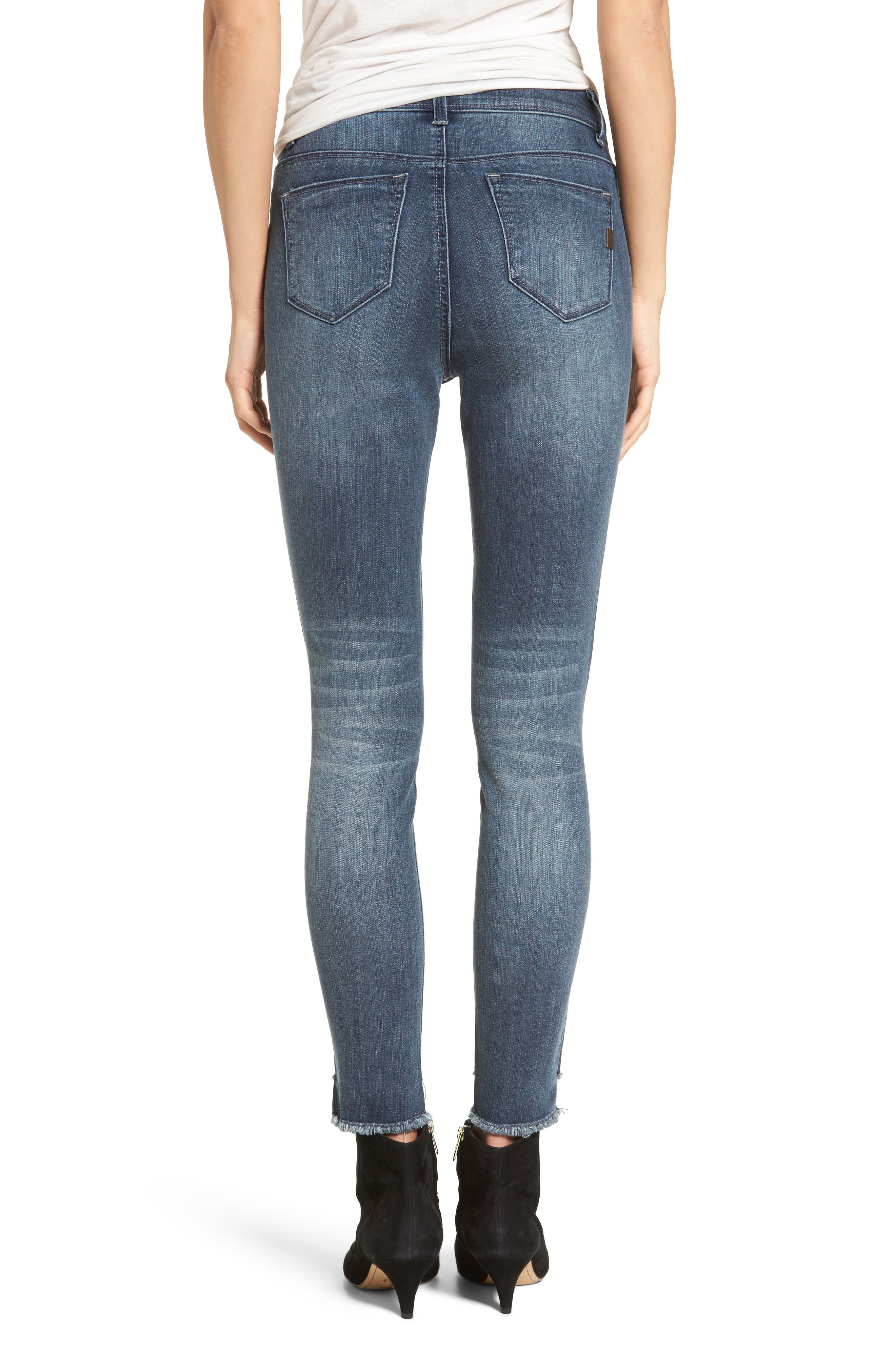 Ripped Step Hem Skinny Jeans,                             Alternate thumbnail 2, color,                             404
