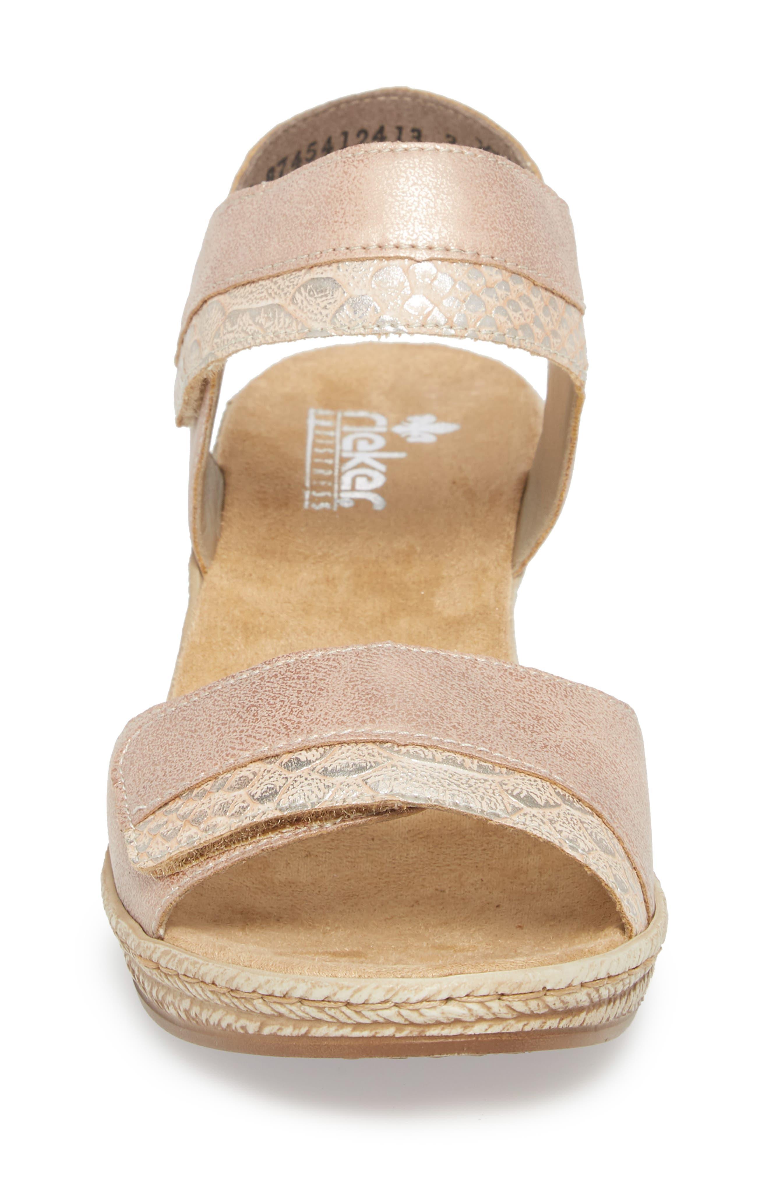 RIEKER ANTISTRESS,                             Fanni 70 Wedge Sandal,                             Alternate thumbnail 4, color,                             ROSE/ GINGER