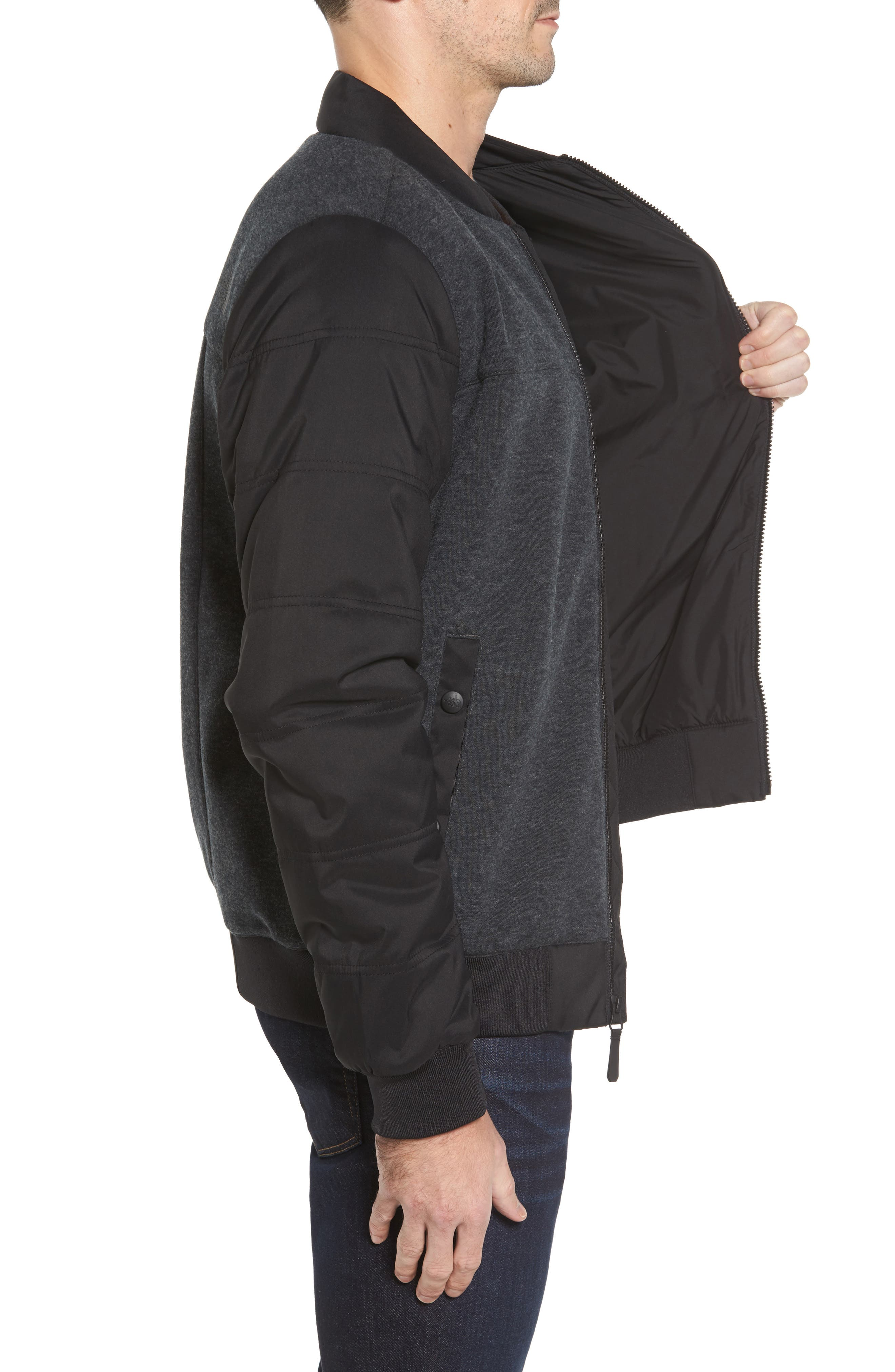 Far Northern Hybrid Bomber Jacket,                             Alternate thumbnail 3, color,                             DARK GREY HEATHER/ BLACK