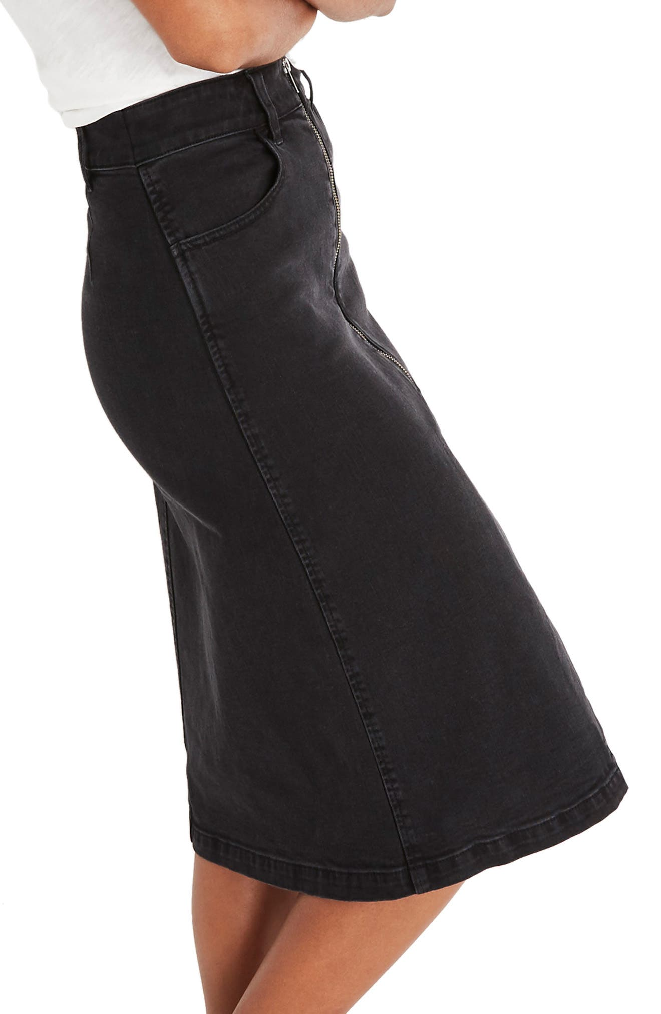 Denim Zip Midi Skirt,                             Alternate thumbnail 3, color,                             LUNAR WASH