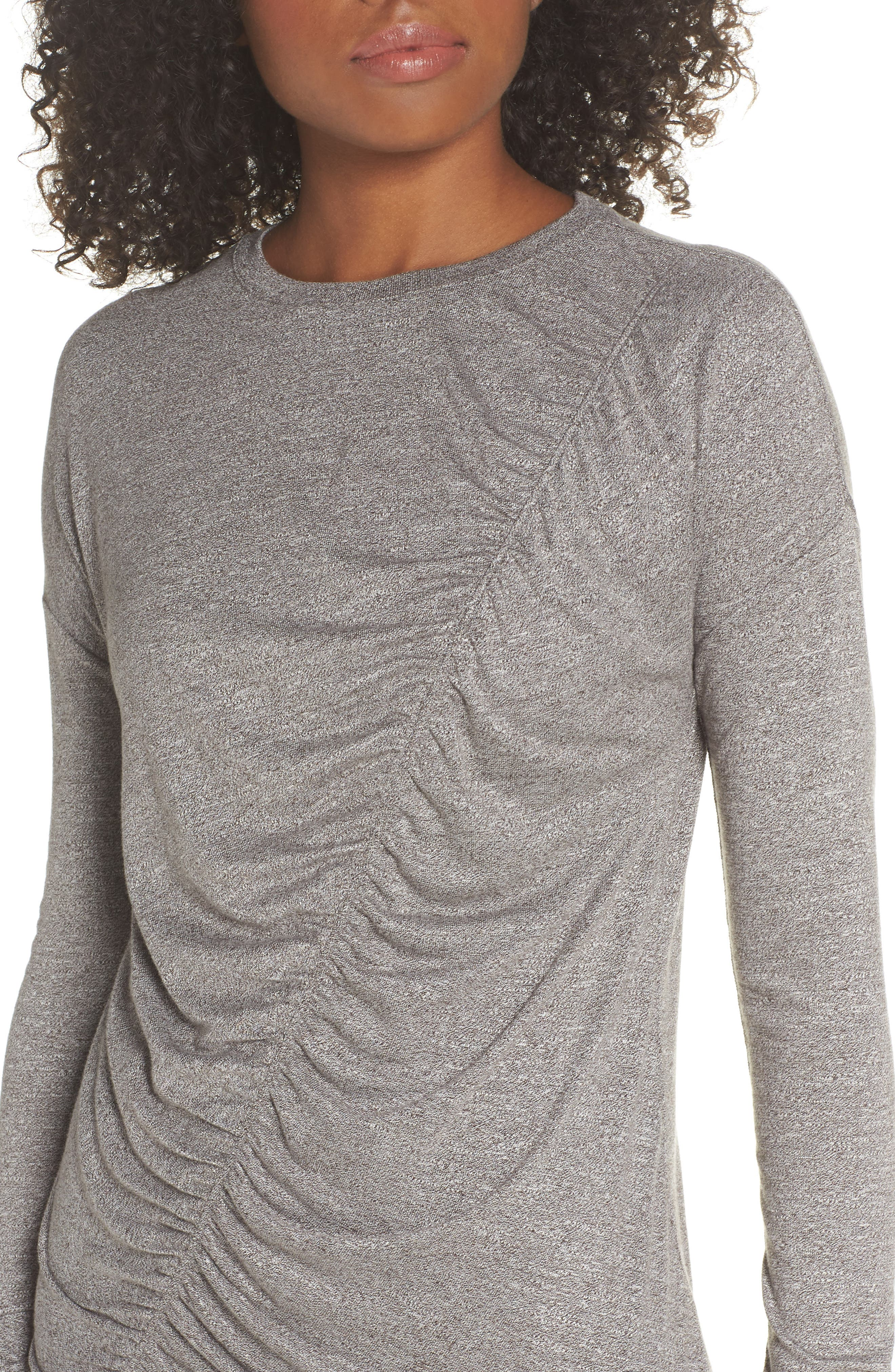 So Graceful Ruched Tee,                             Alternate thumbnail 4, color,                             GREY DARK HEATHER