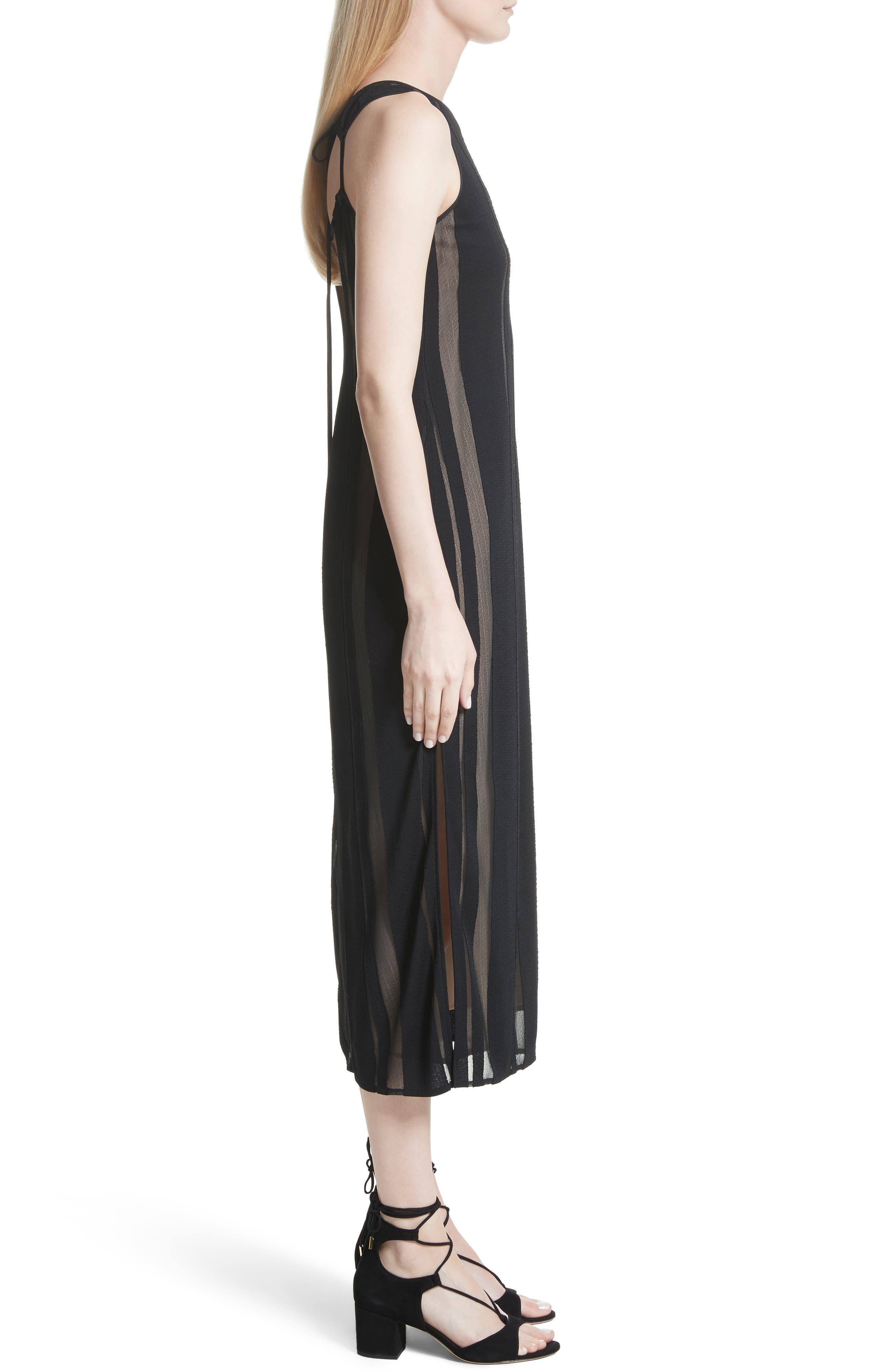 Talla Sheer Stripe Midi Dress,                             Alternate thumbnail 3, color,                             009