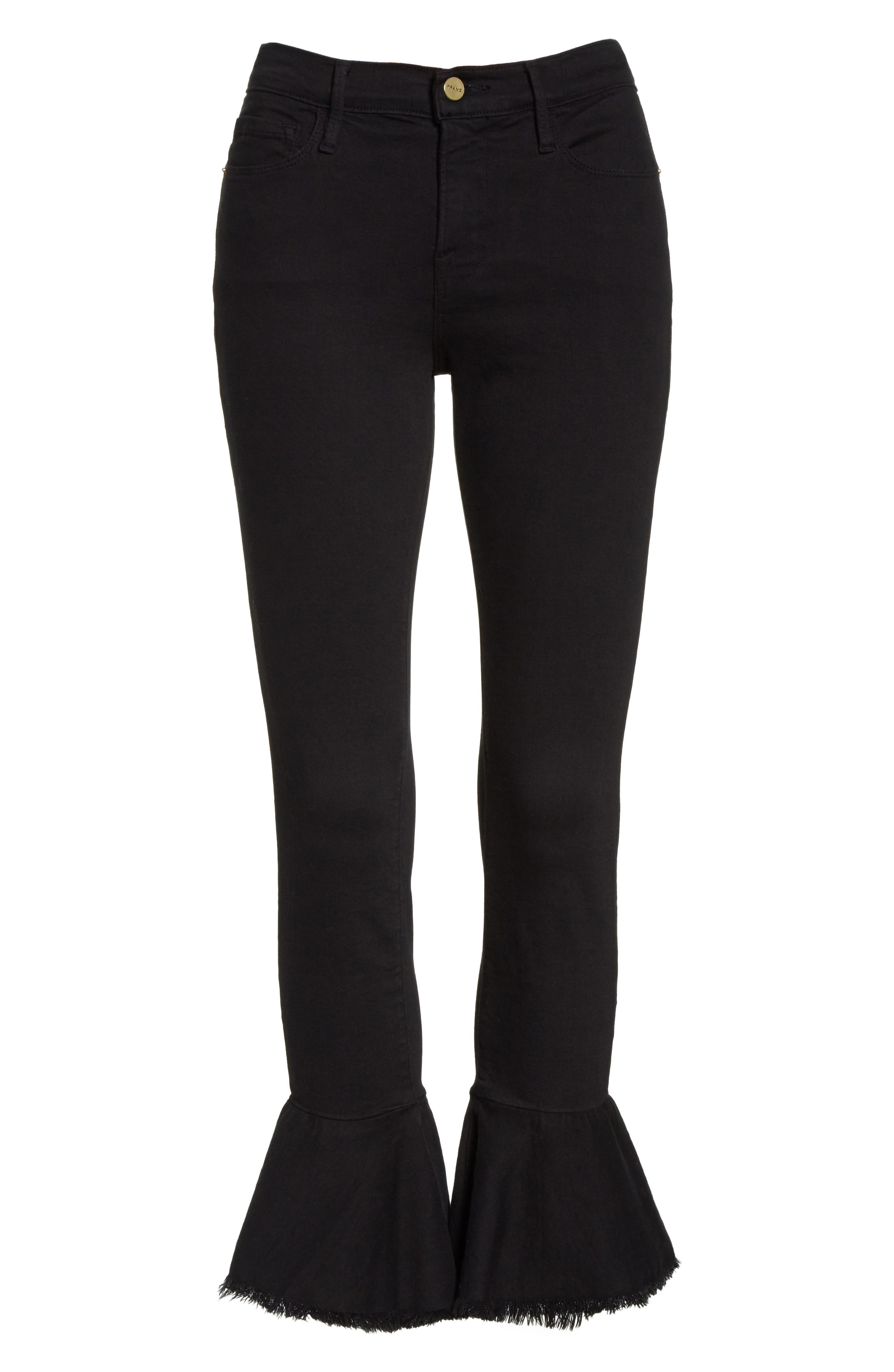 Le Skinny de Jeanne Flounce Skinny Jeans,                             Alternate thumbnail 6, color,                             001