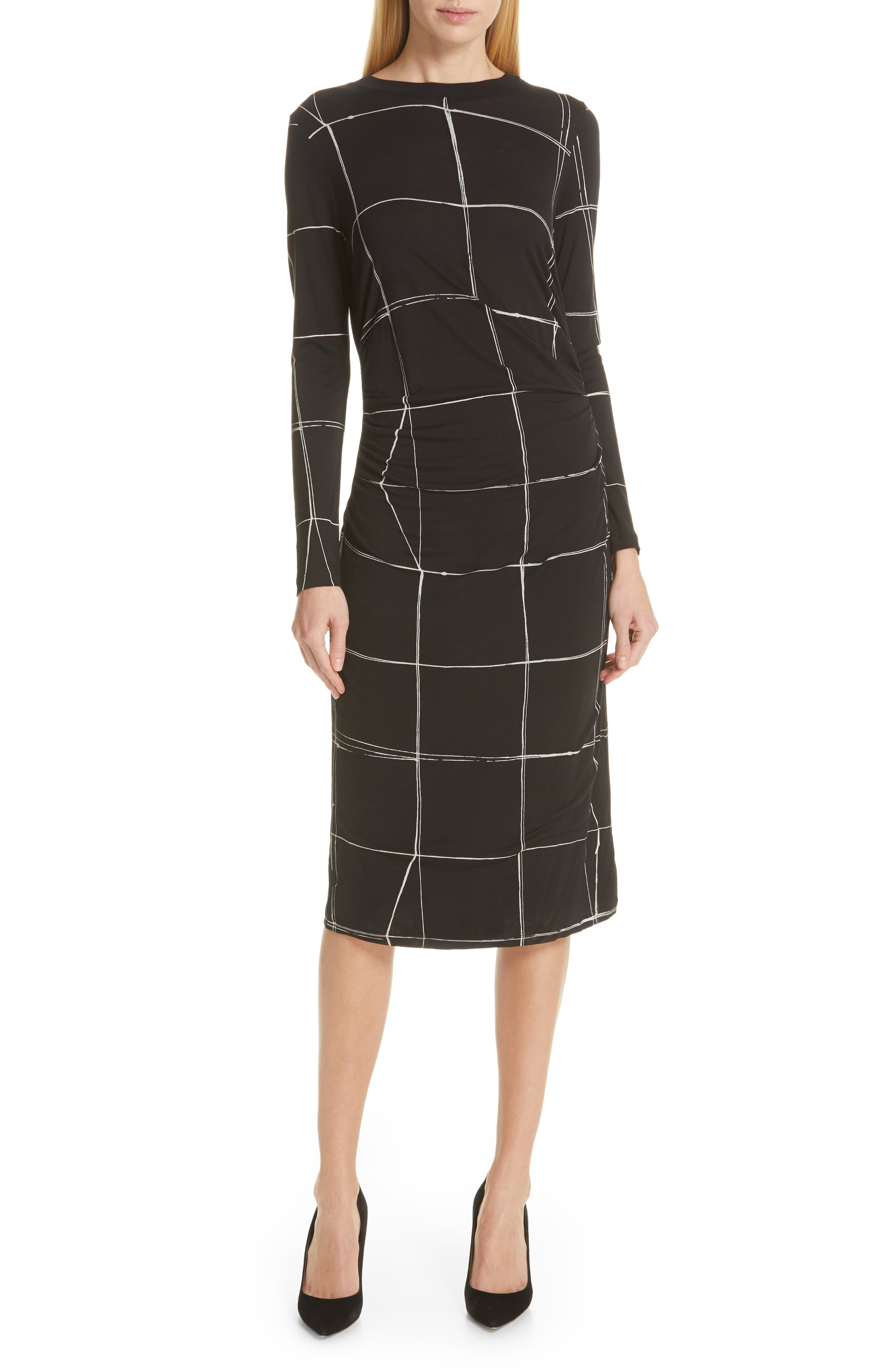 Boss Esetta Windowpane Sheath Dress, Black