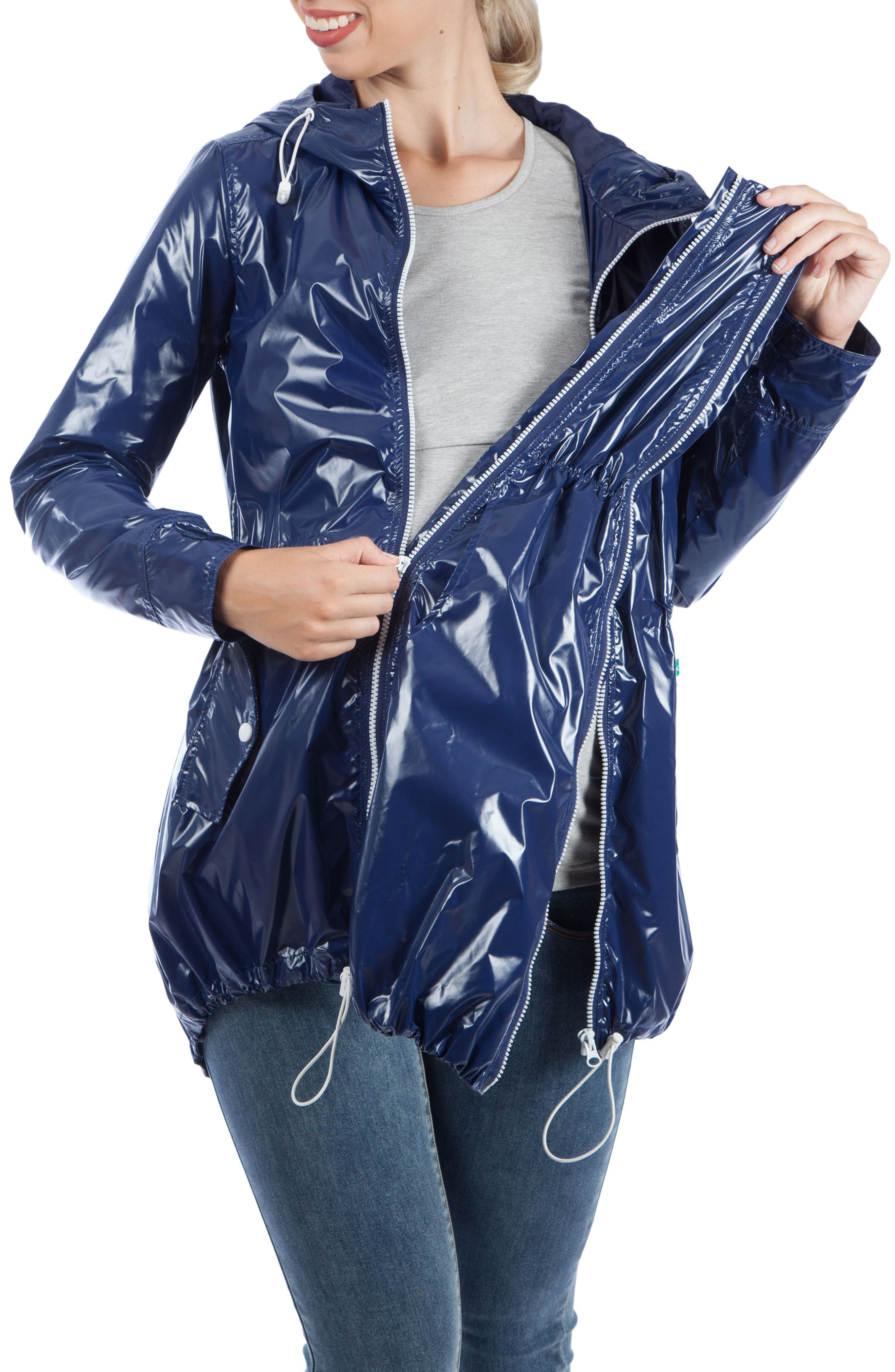 Waterproof Convertible 3-in-1 Maternity Raincoat,                             Alternate thumbnail 7, color,                             BRIGHT NAVY