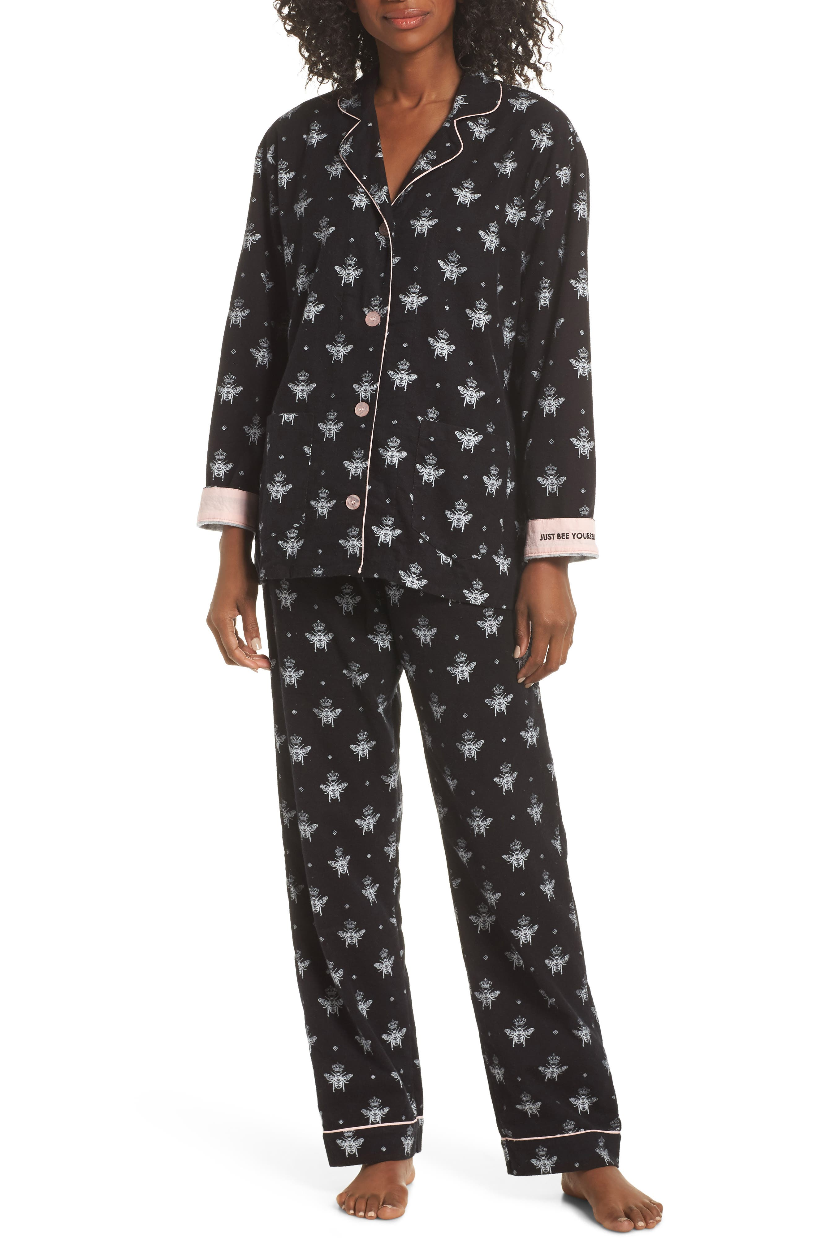 Print Flannel Pajamas,                             Main thumbnail 1, color,                             BLACK