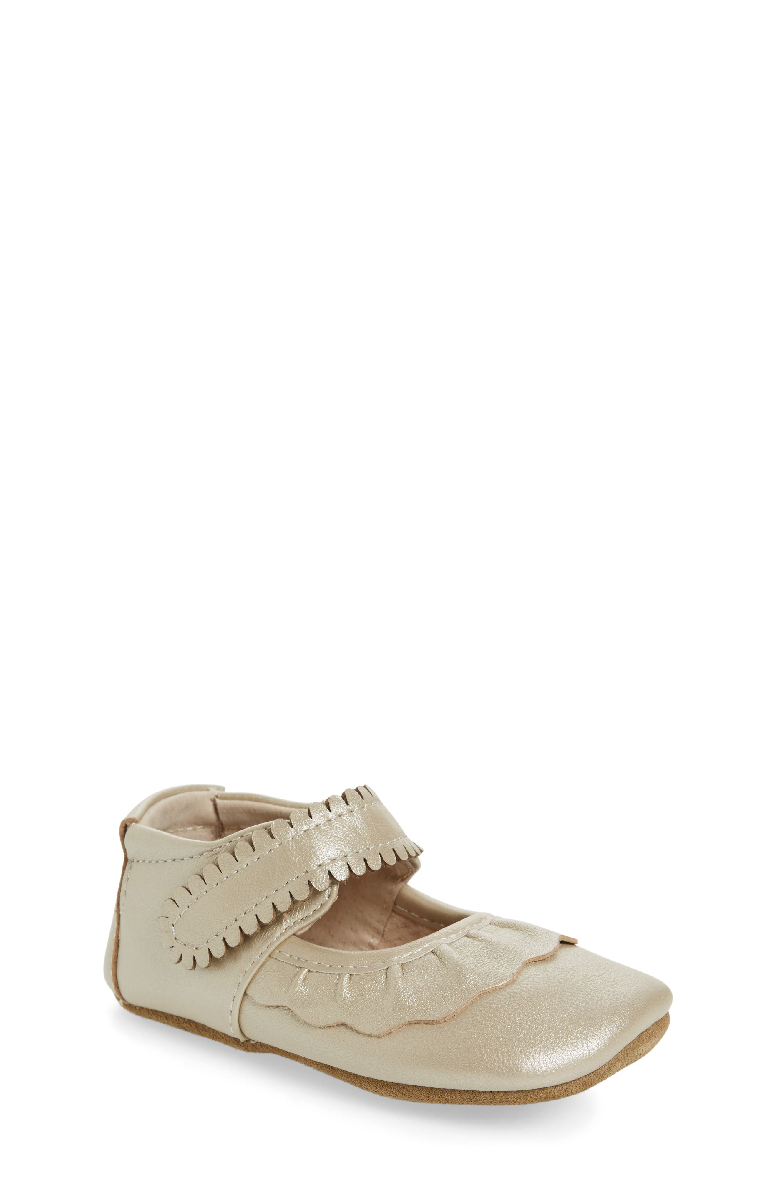 'Ruche' Mary Jane Crib Shoe,                         Main,                         color, CHAMPAGNE LEATHER
