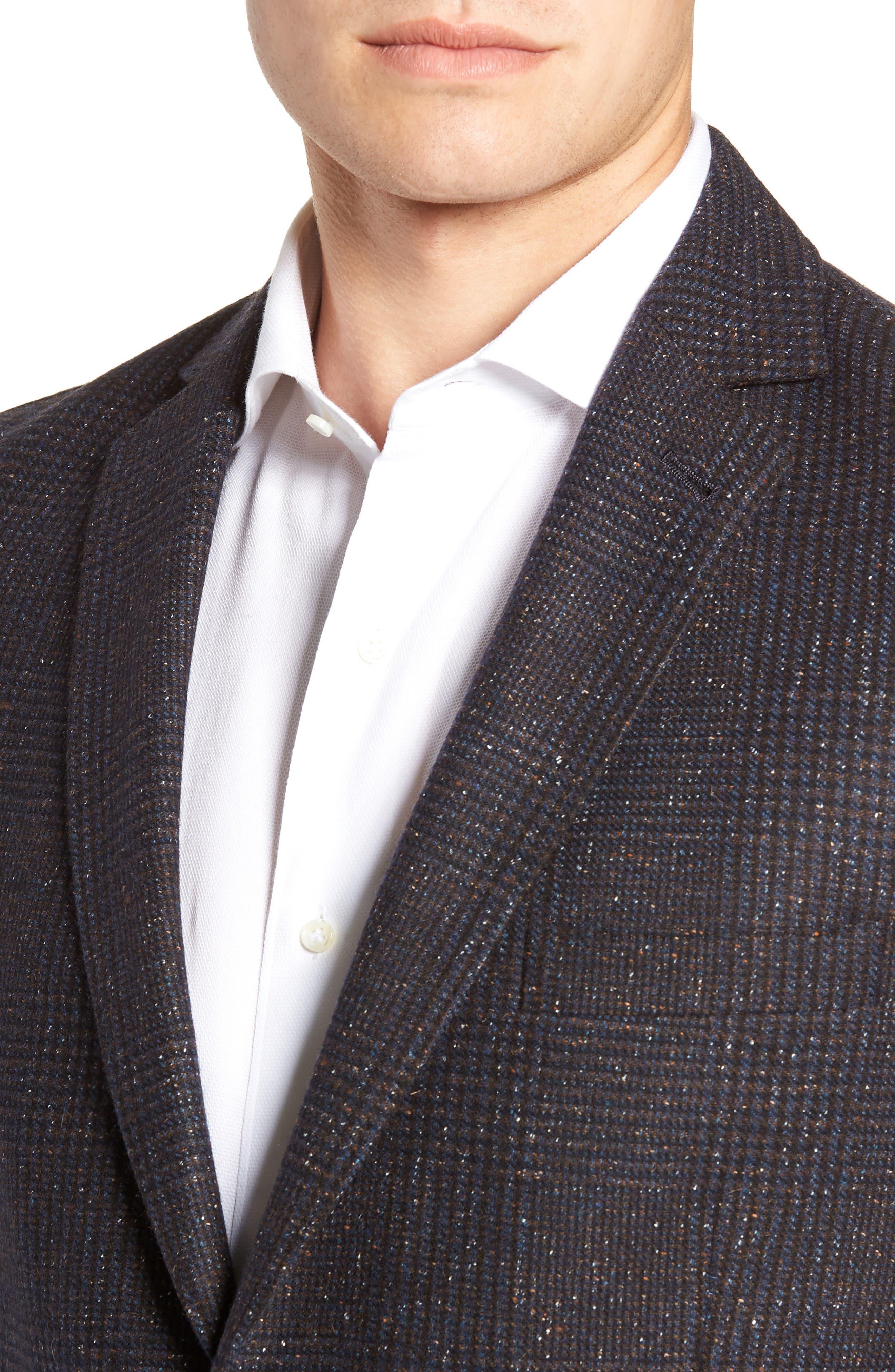 Regular Fit Wool & Silk Blend Blazer,                             Alternate thumbnail 4, color,                             BROWN
