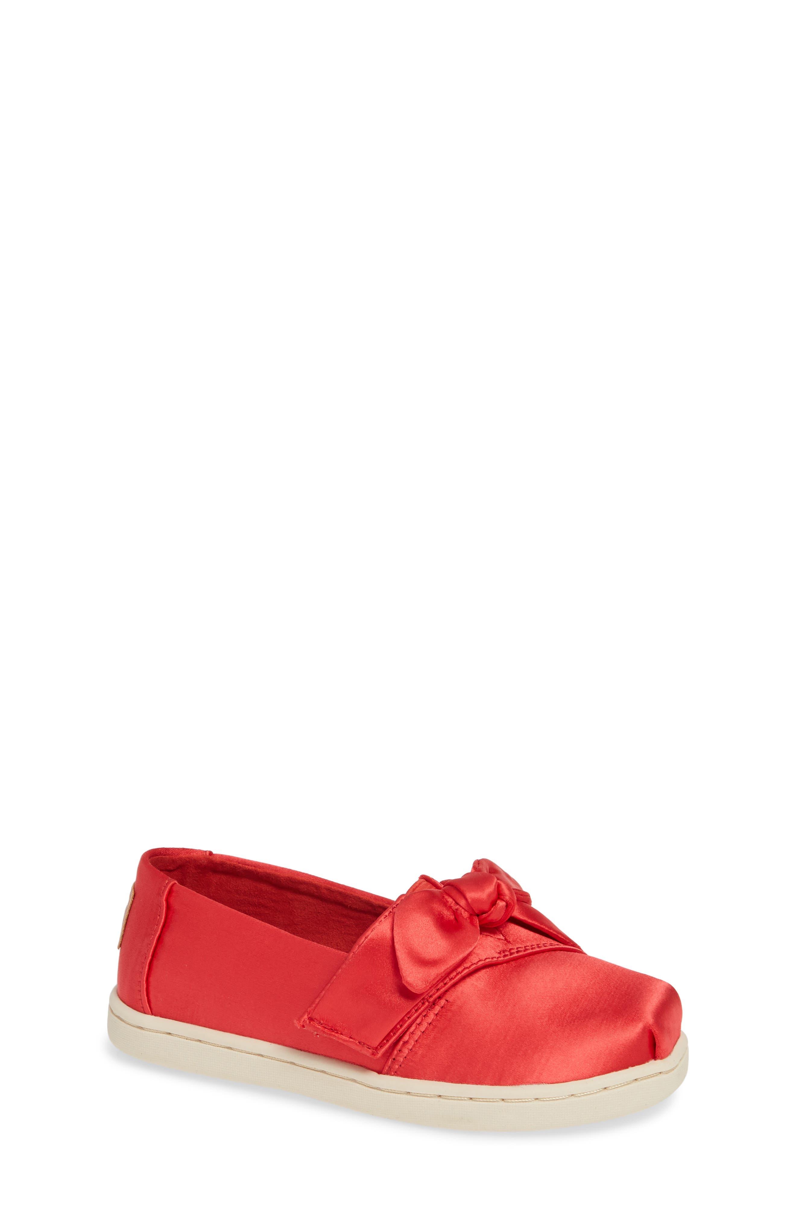 Infant Toms Alpargata Bow SlipOn Size 3 M  Red