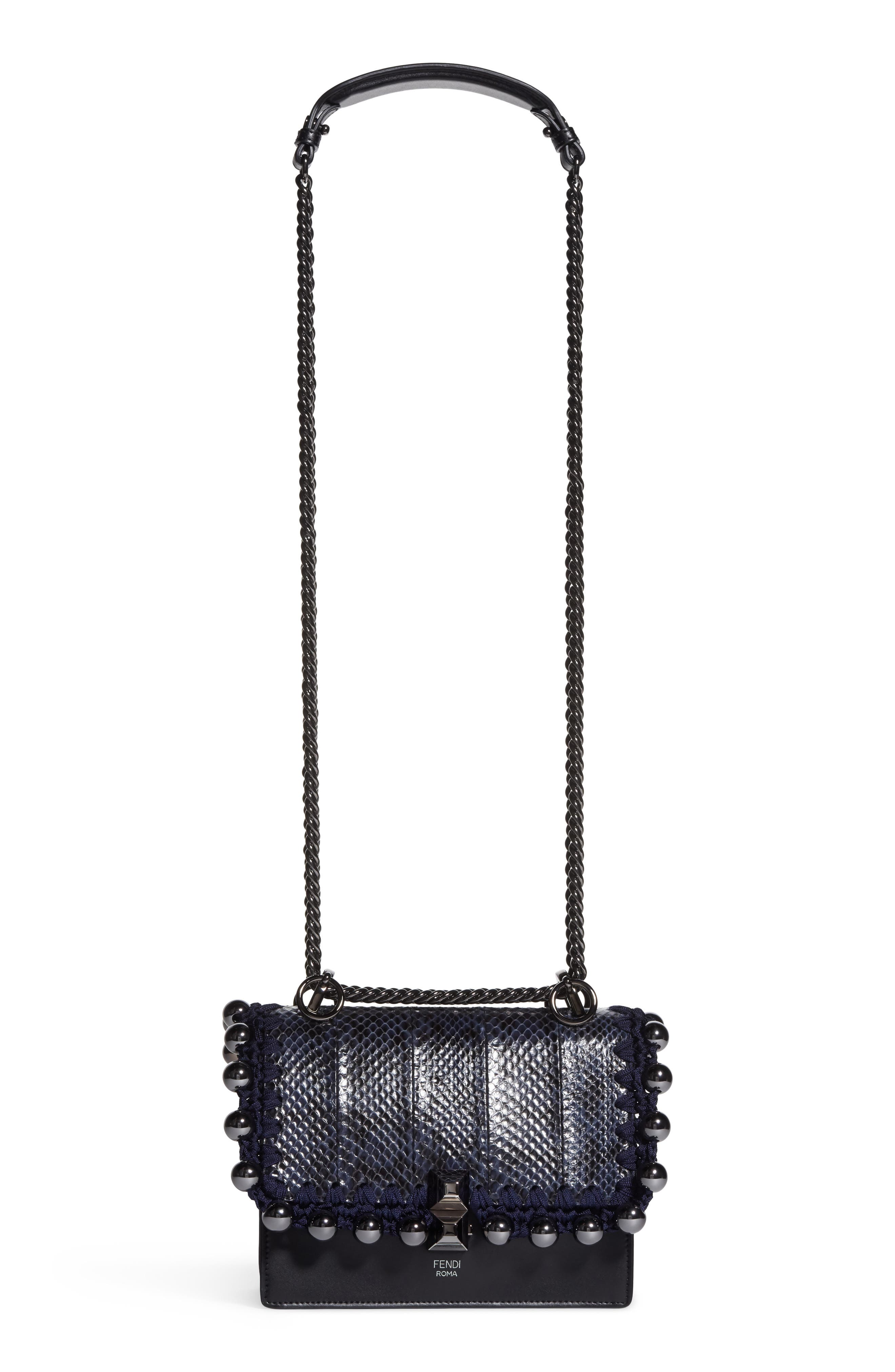 Small Kan I Genuine Snakeskin & Leather Beaded Shoulder Bag,                             Main thumbnail 1, color,                             IRIS/ NERO