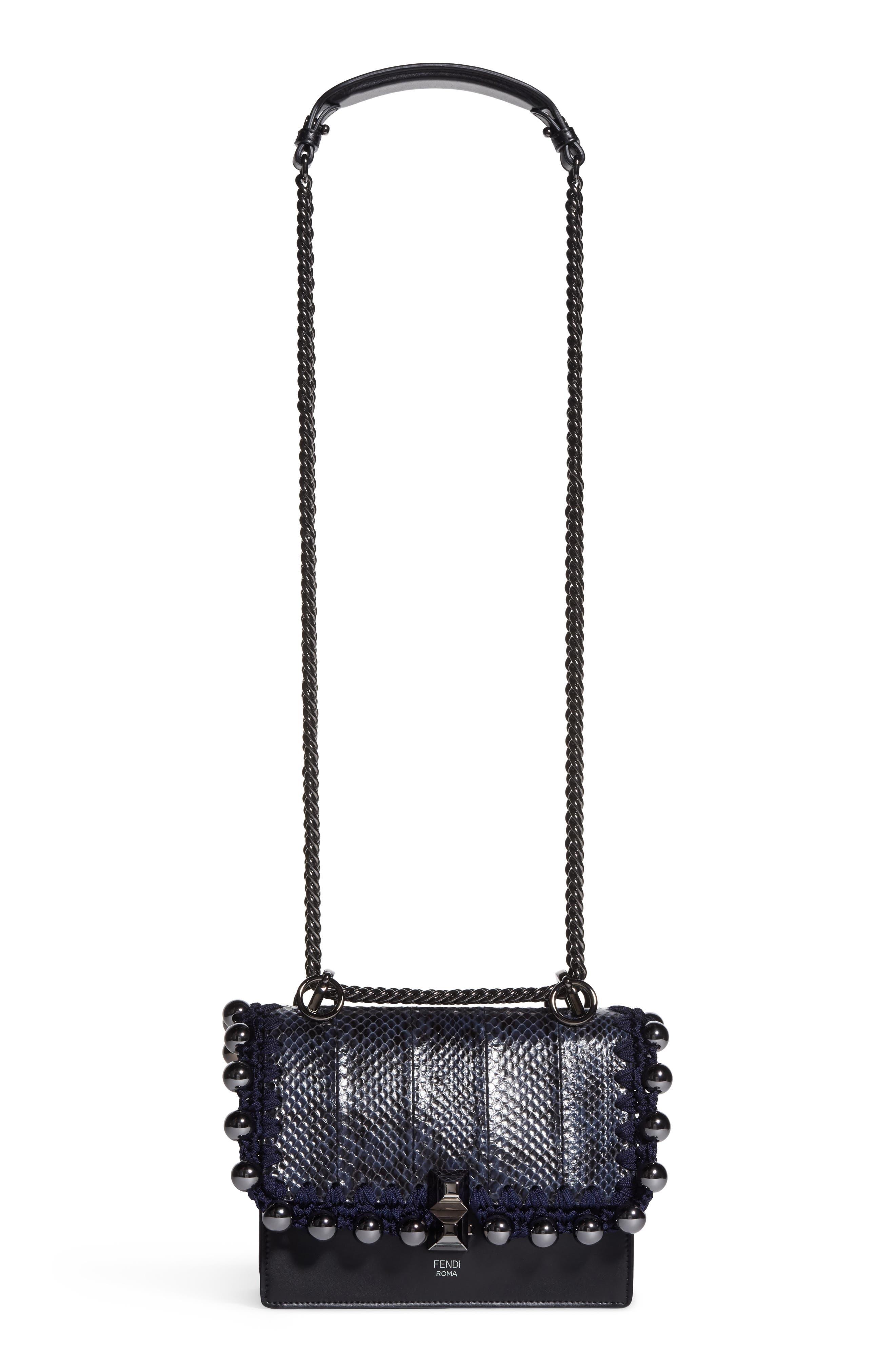 Small Kan I Genuine Snakeskin & Leather Beaded Shoulder Bag,                         Main,                         color, IRIS/ NERO
