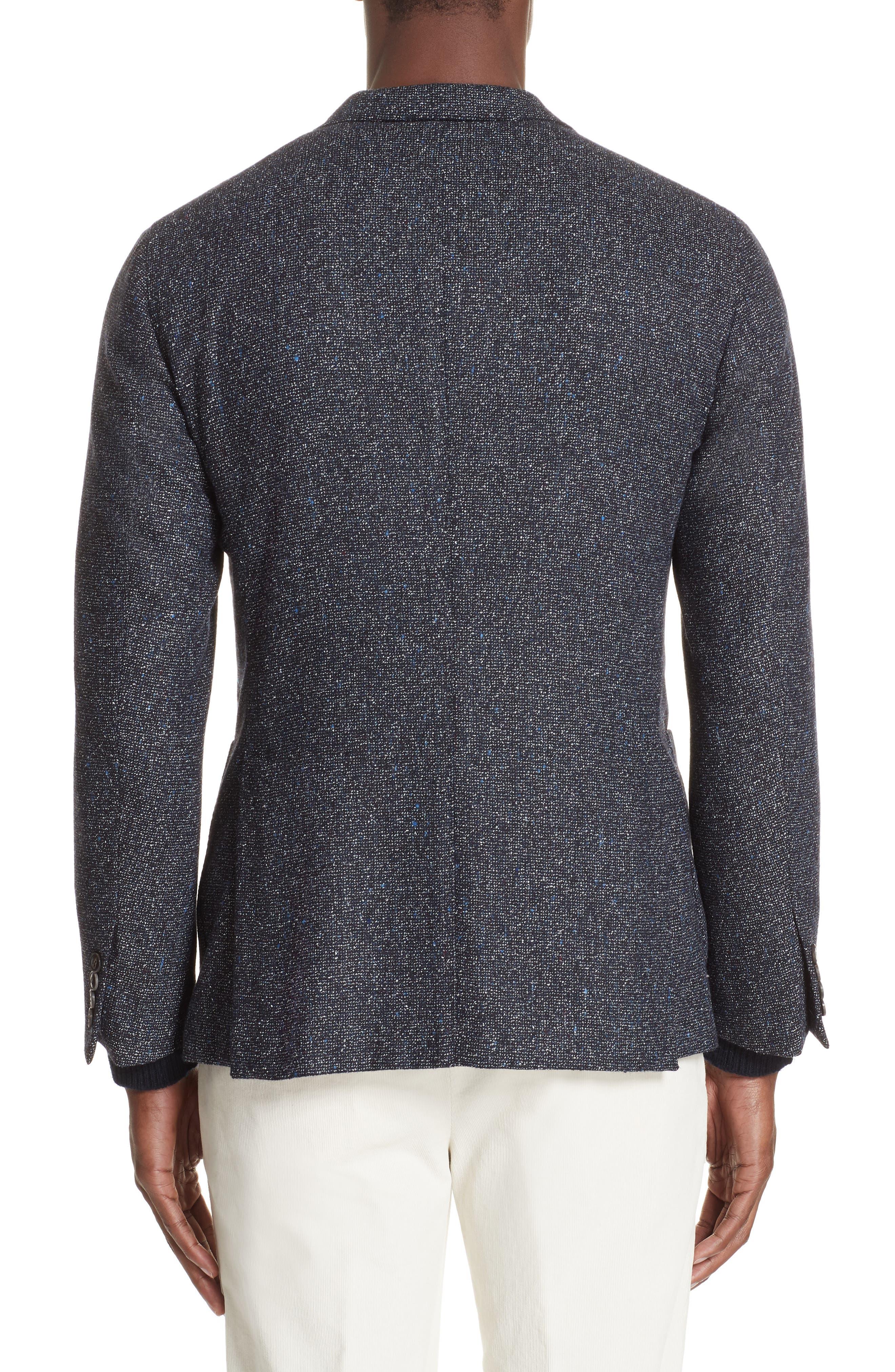 Trim Fit Tweed Wool Blend Blazer,                             Alternate thumbnail 2, color,                             NAVY