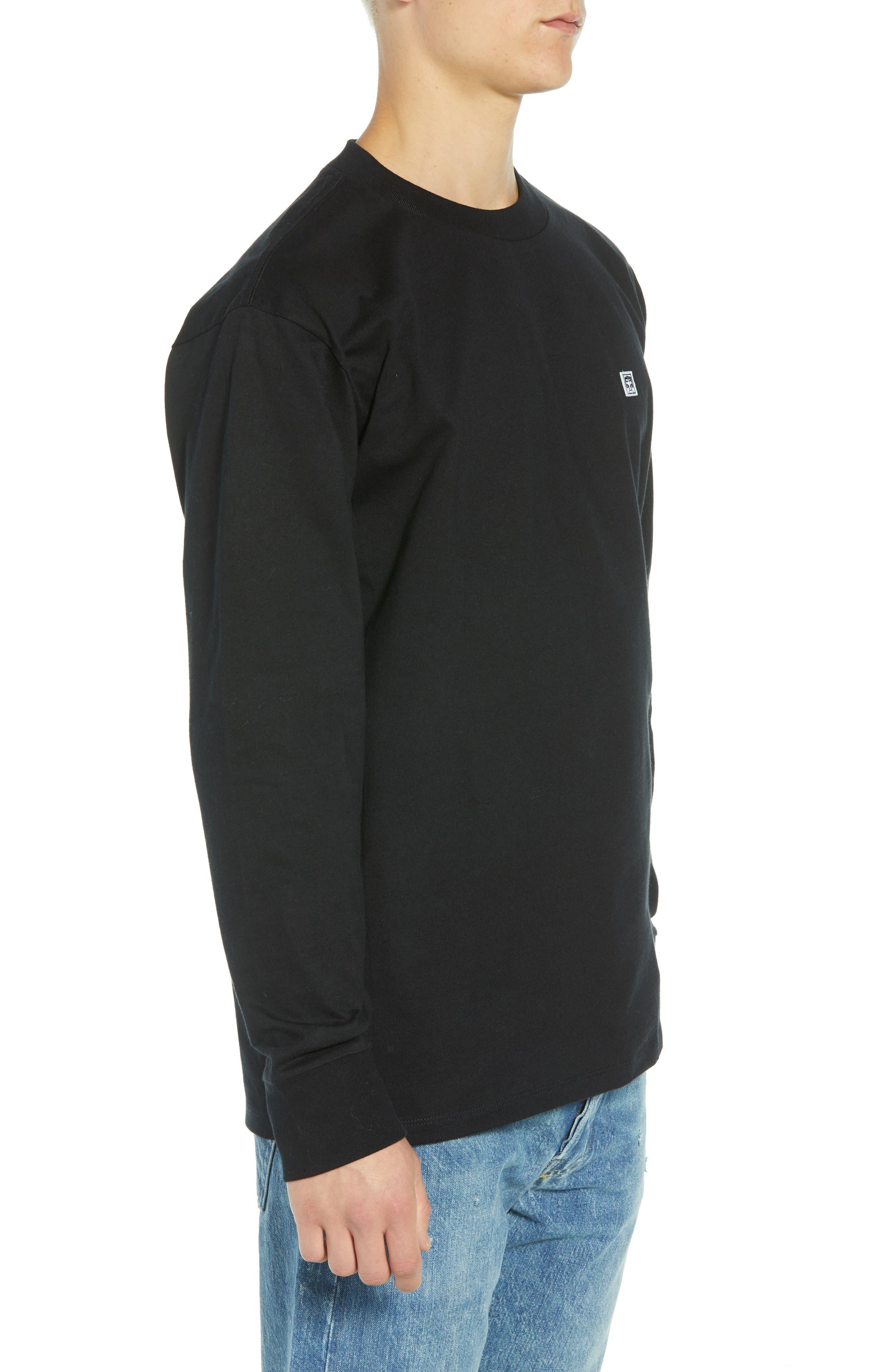 Eighty-Nine Solid Box Long Sleeve T-Shirt,                             Alternate thumbnail 3, color,                             BLACK MULTI