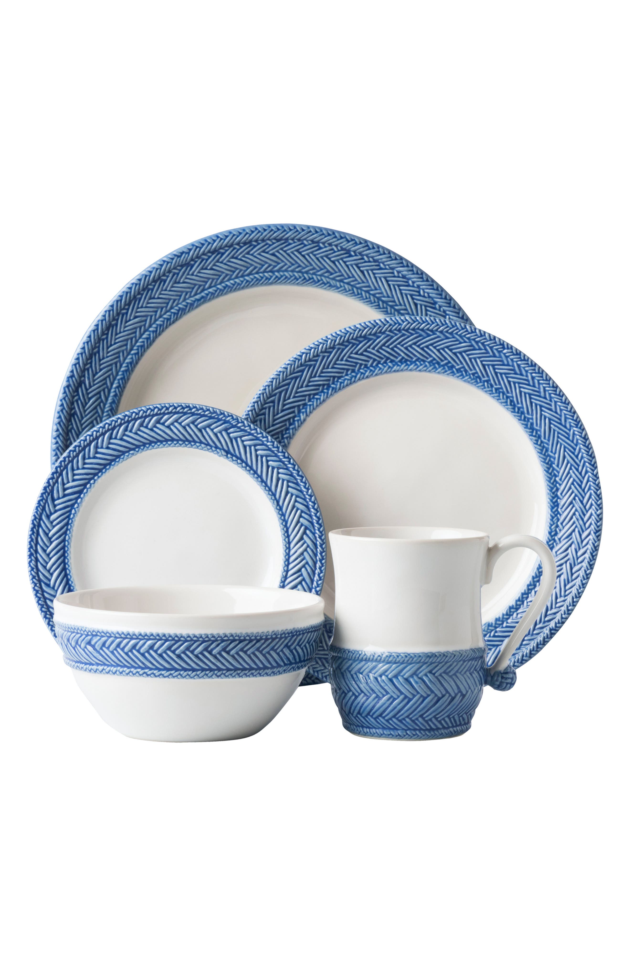 Le Panier 5-Piece Ceramic Place Setting,                             Main thumbnail 1, color,                             WHITEWASH/ DELFT BLUE
