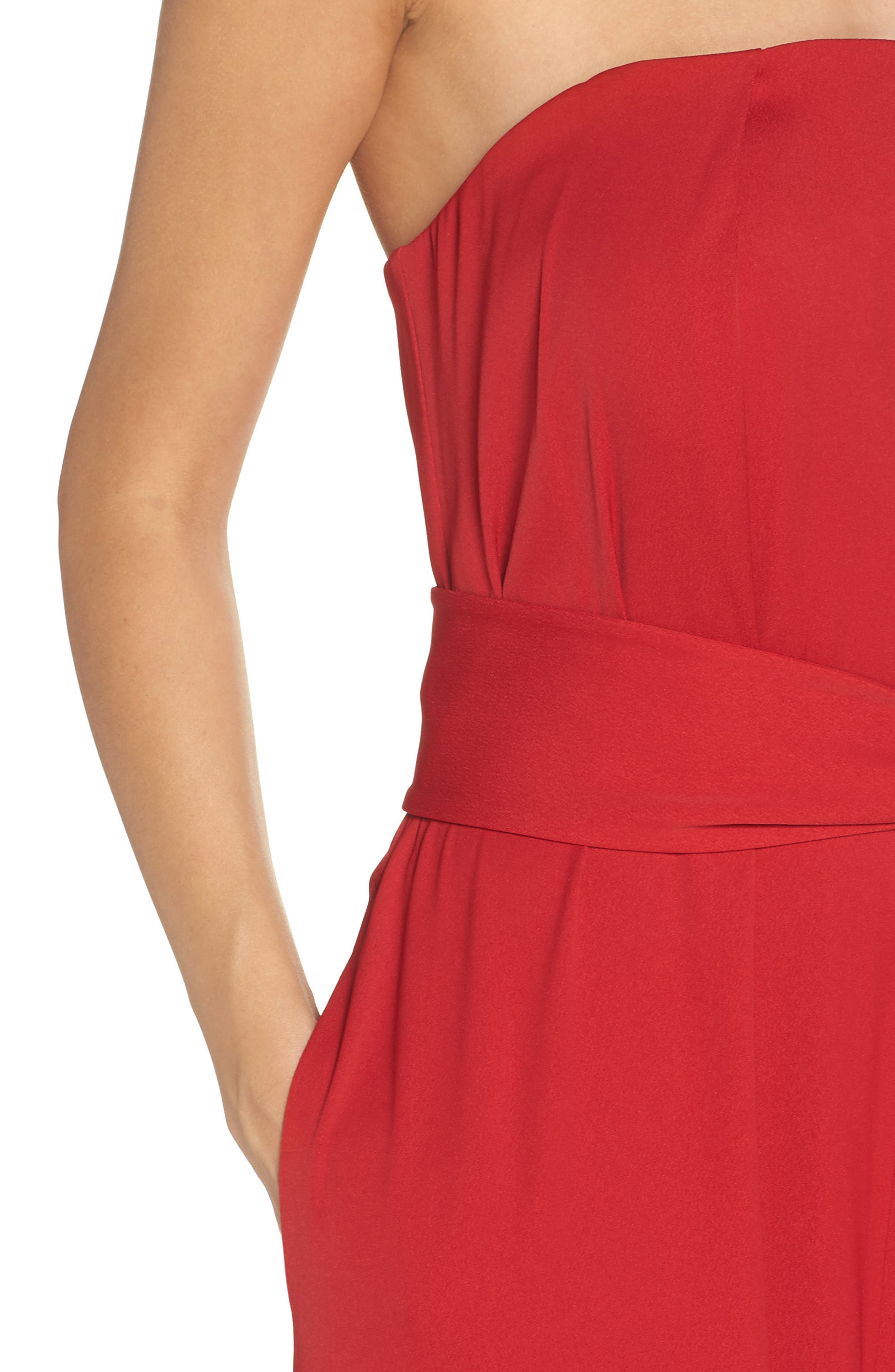 Strapless Crepe Jumpsuit,                             Alternate thumbnail 4, color,                             RED