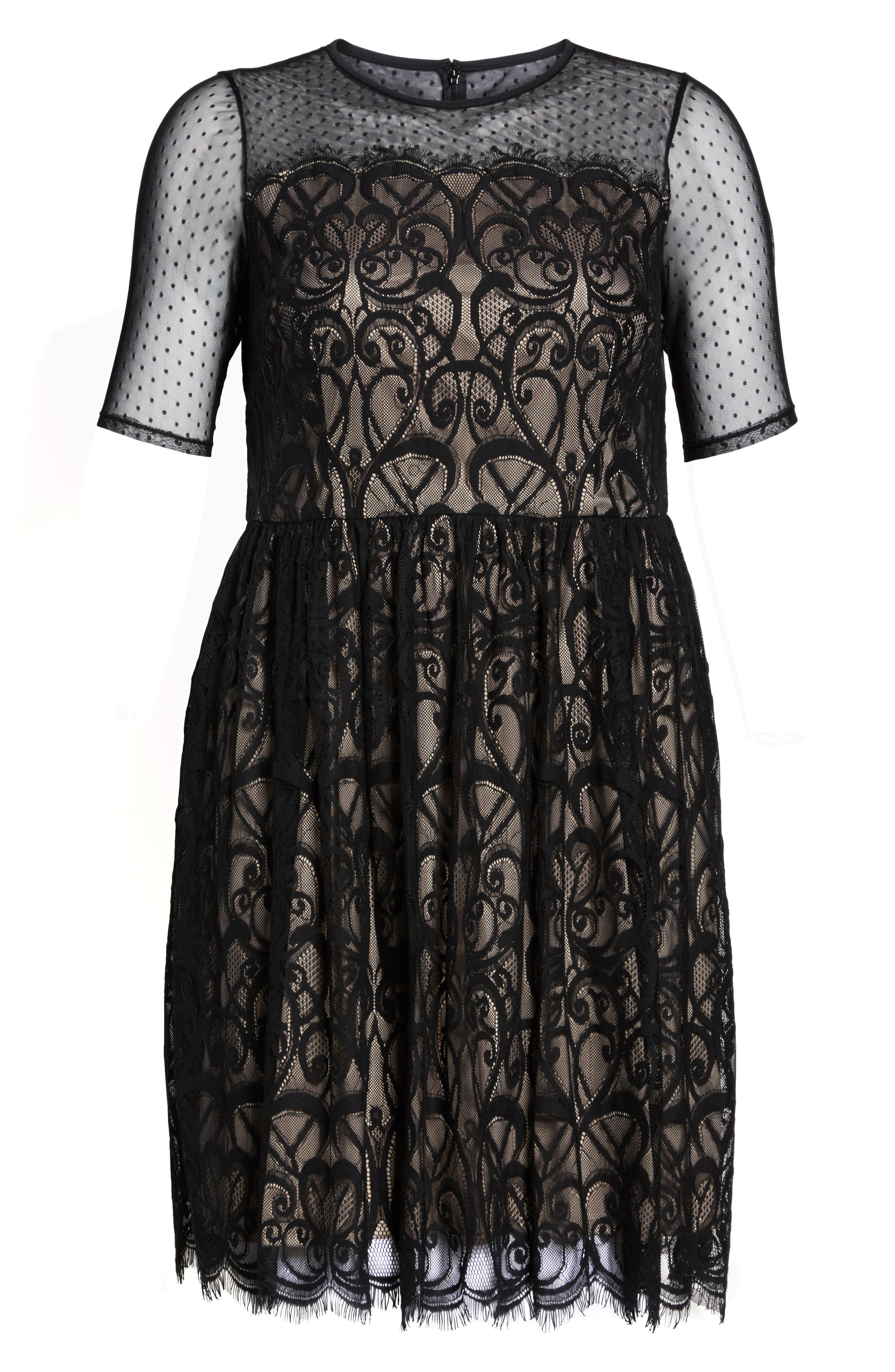 Illusion Lace Fit & Flare Dress,                             Alternate thumbnail 6, color,                             BLACK