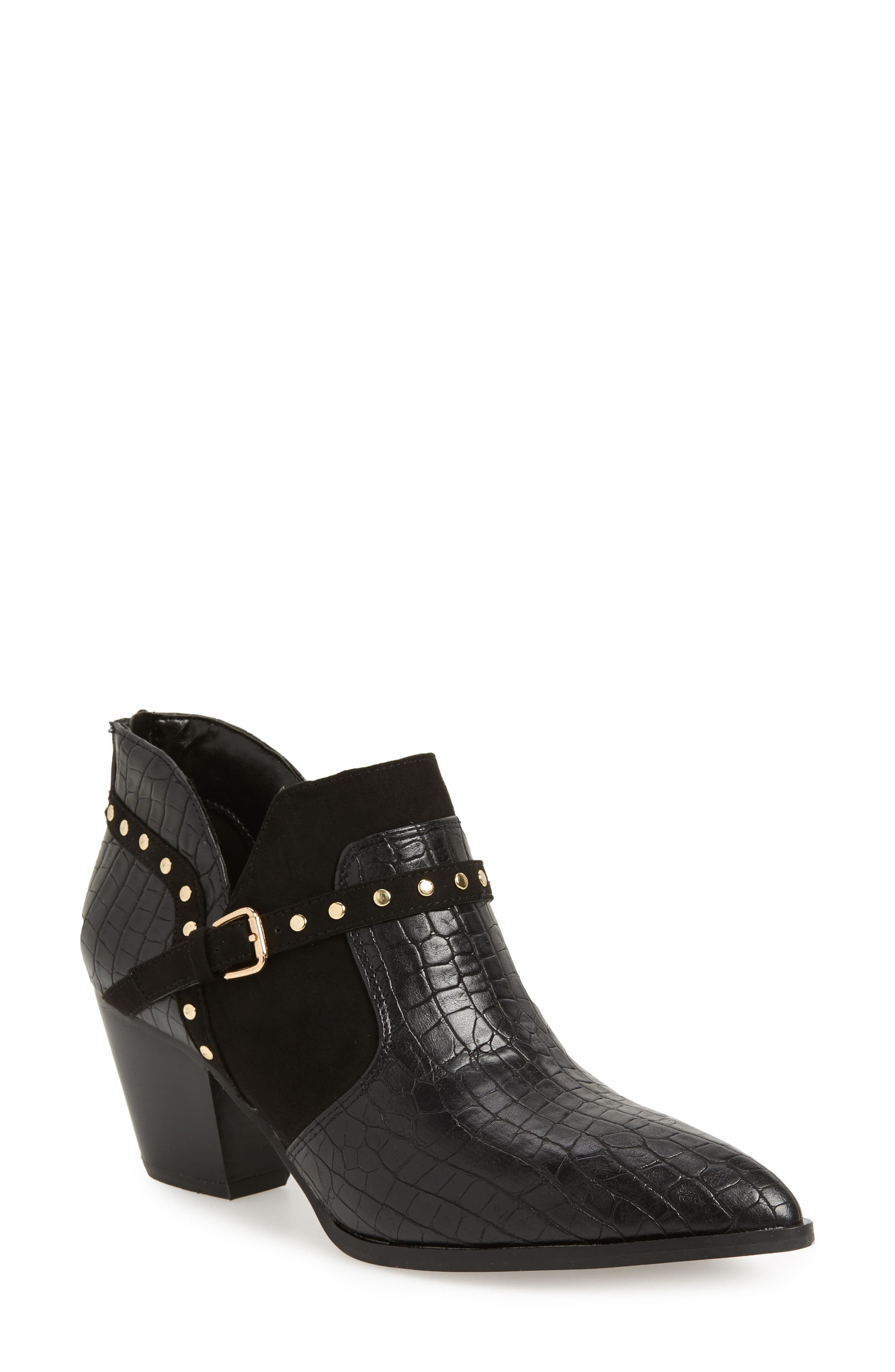 Elody II Pointy Toe Bootie,                             Main thumbnail 1, color,                             BLACK