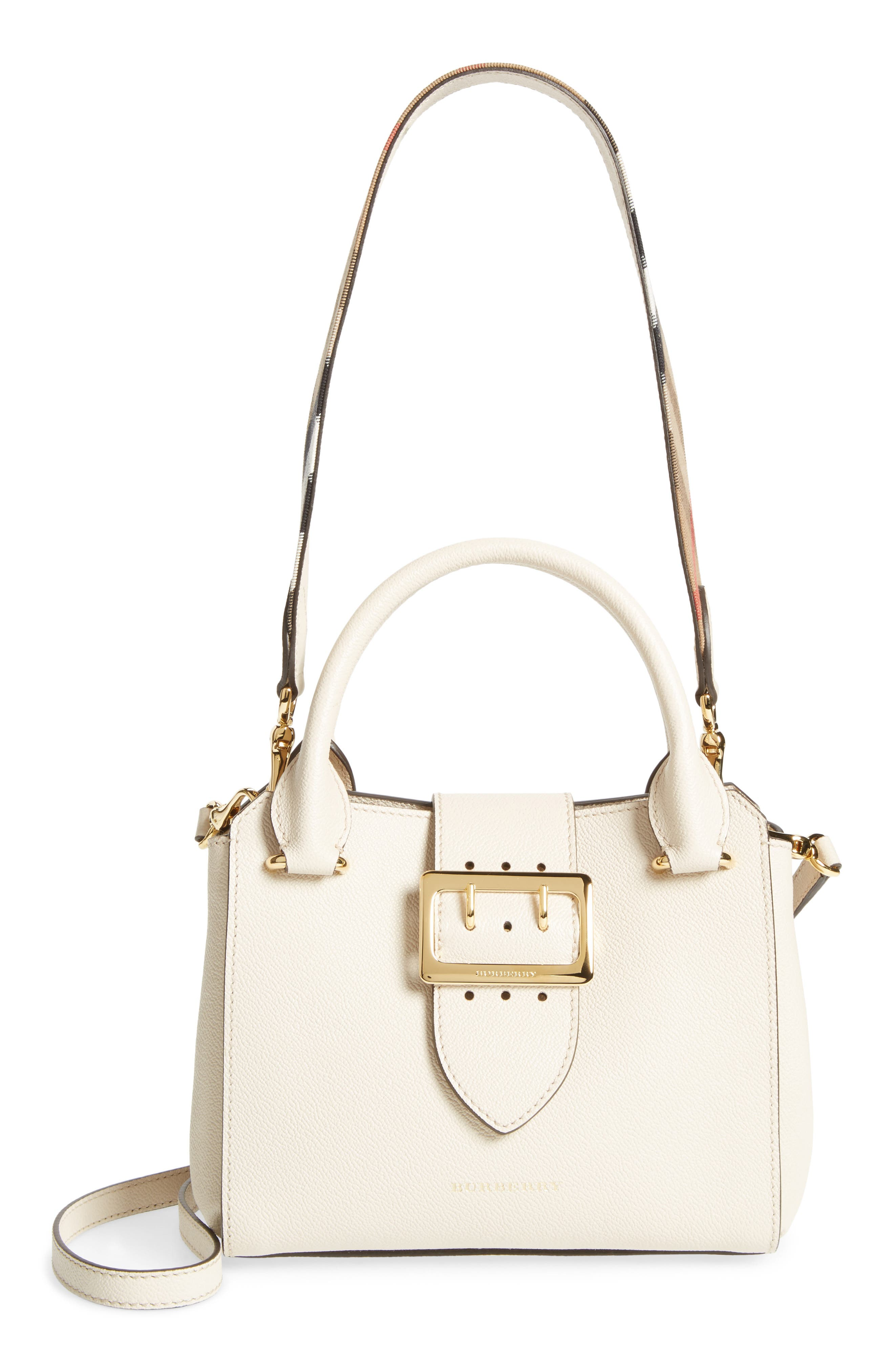 Small Buckle Leather Satchel,                             Main thumbnail 1, color,                             052