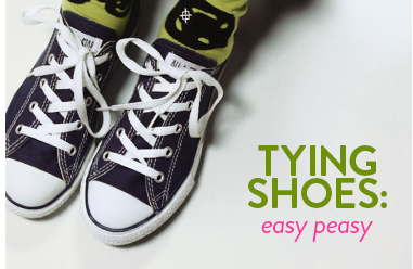 Tying shoes: easy peasy. How to tie shoes video.