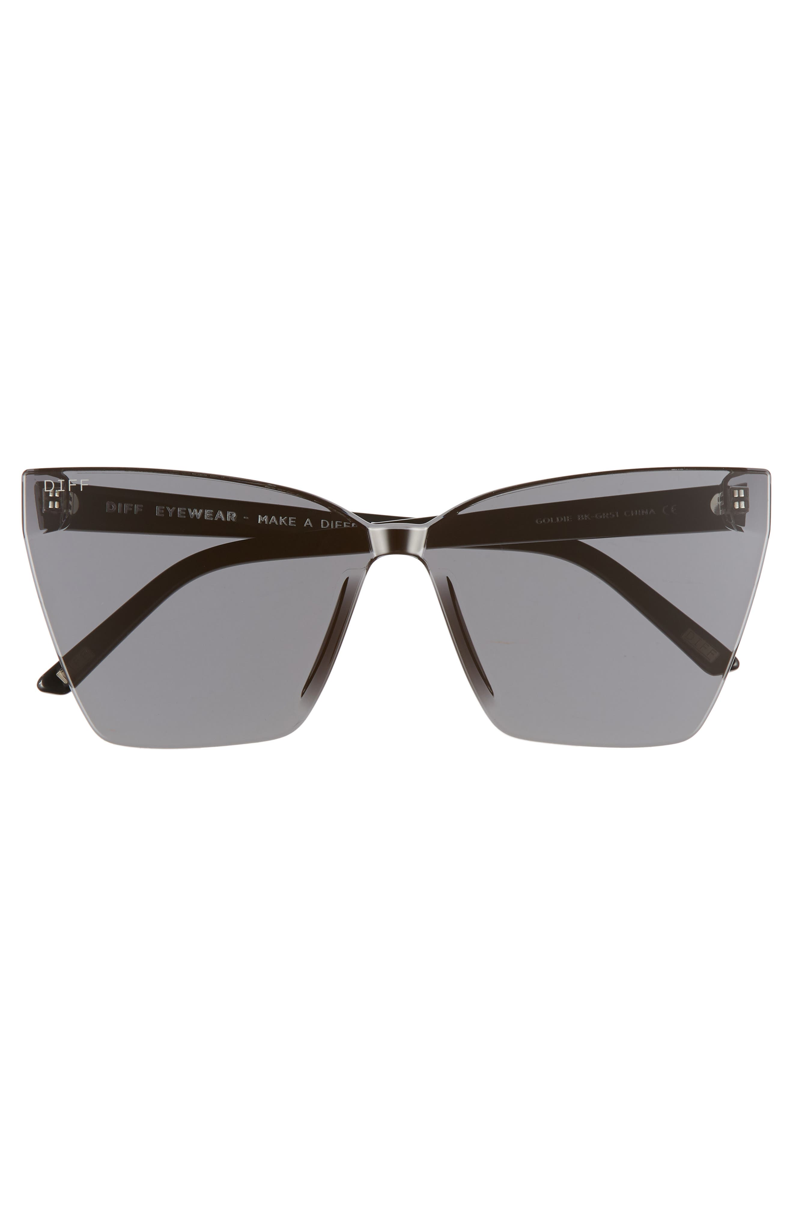 Goldie 65mm Oversize Rimless Butterfly Sunglasses,                             Alternate thumbnail 3, color,                             001