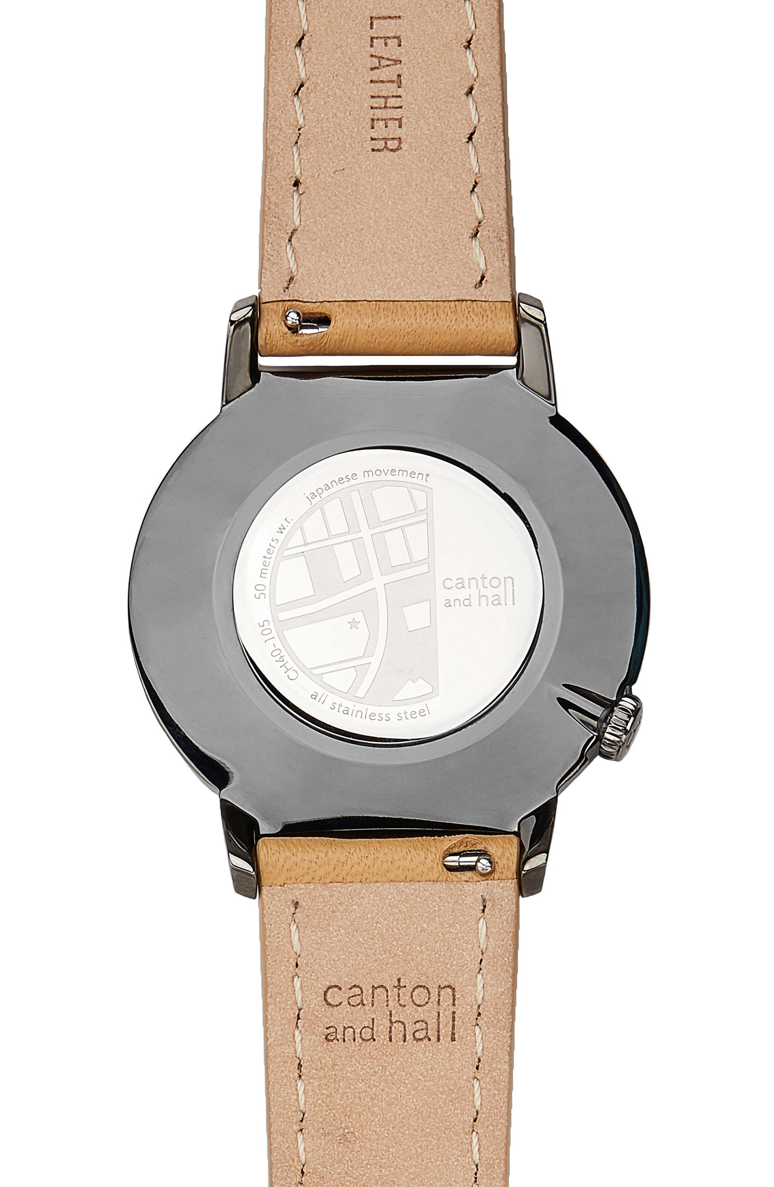 Davis Slim Leather Strap Watch, 40mm,                             Alternate thumbnail 2, color,                             KHAKI/ CAMEL