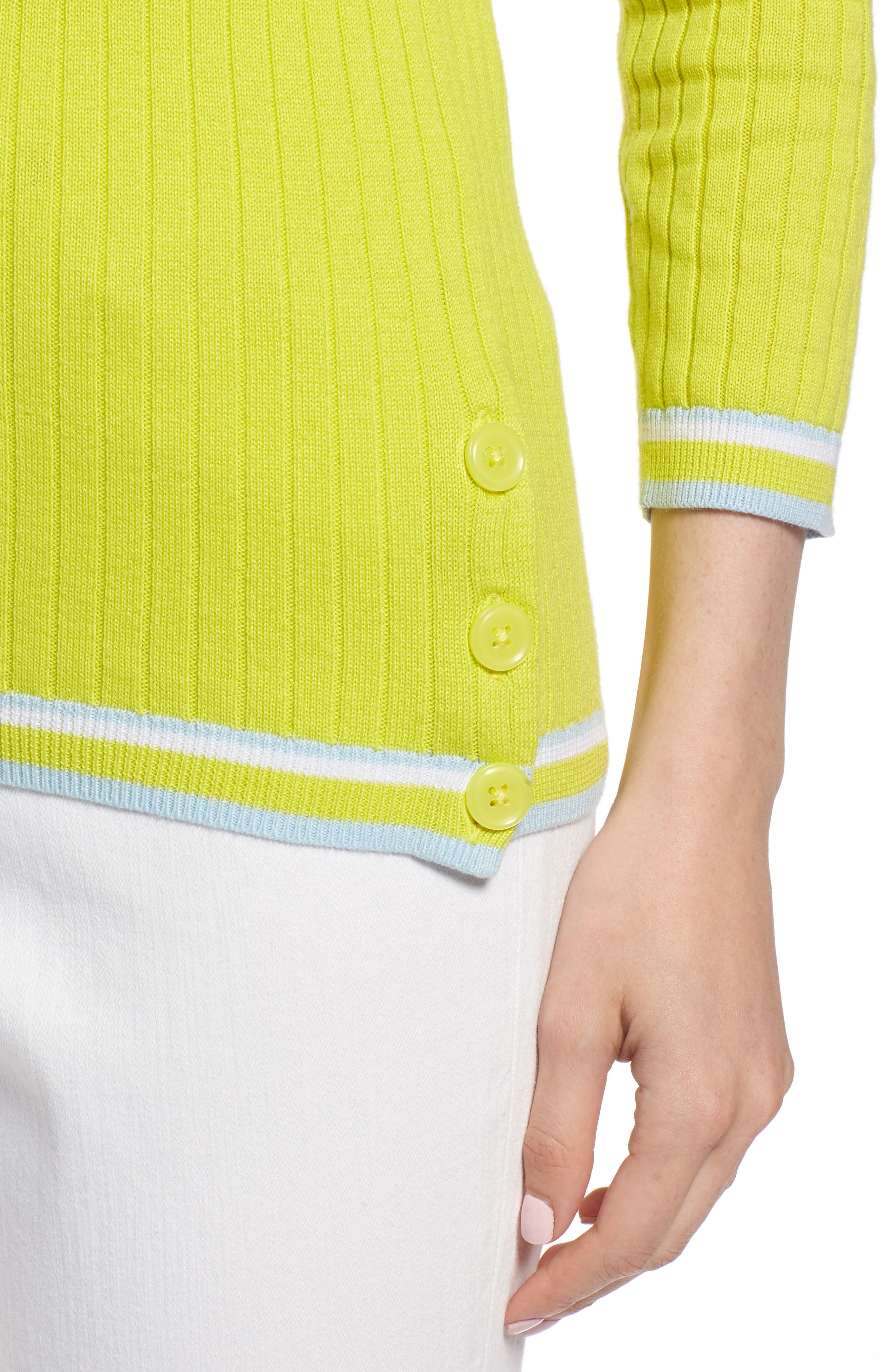 Tipped Cotton Blend Ribbed Sweater,                             Alternate thumbnail 4, color,                             330