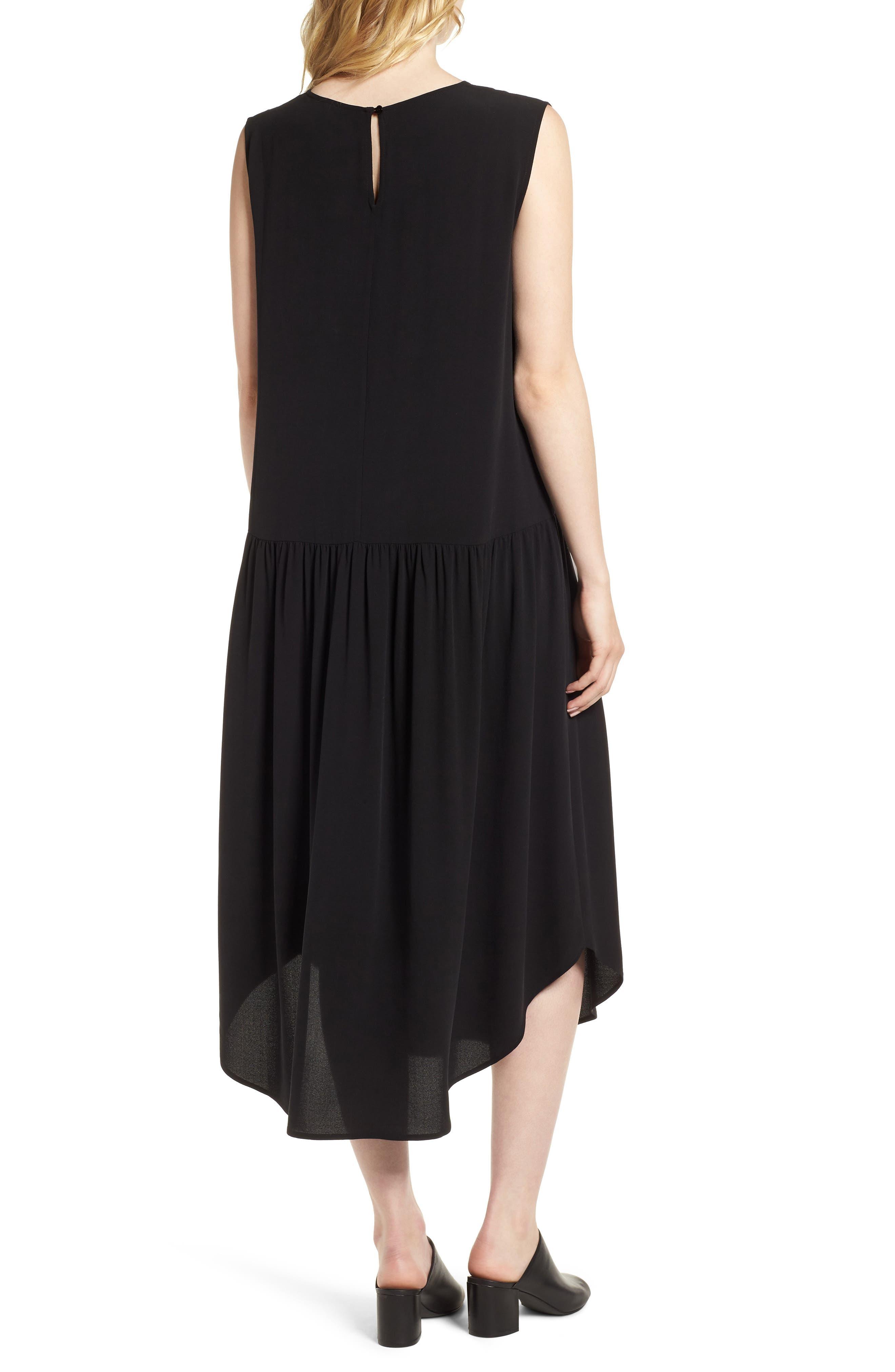 Drop Waist Silk Midi Dress,                             Alternate thumbnail 2, color,                             001