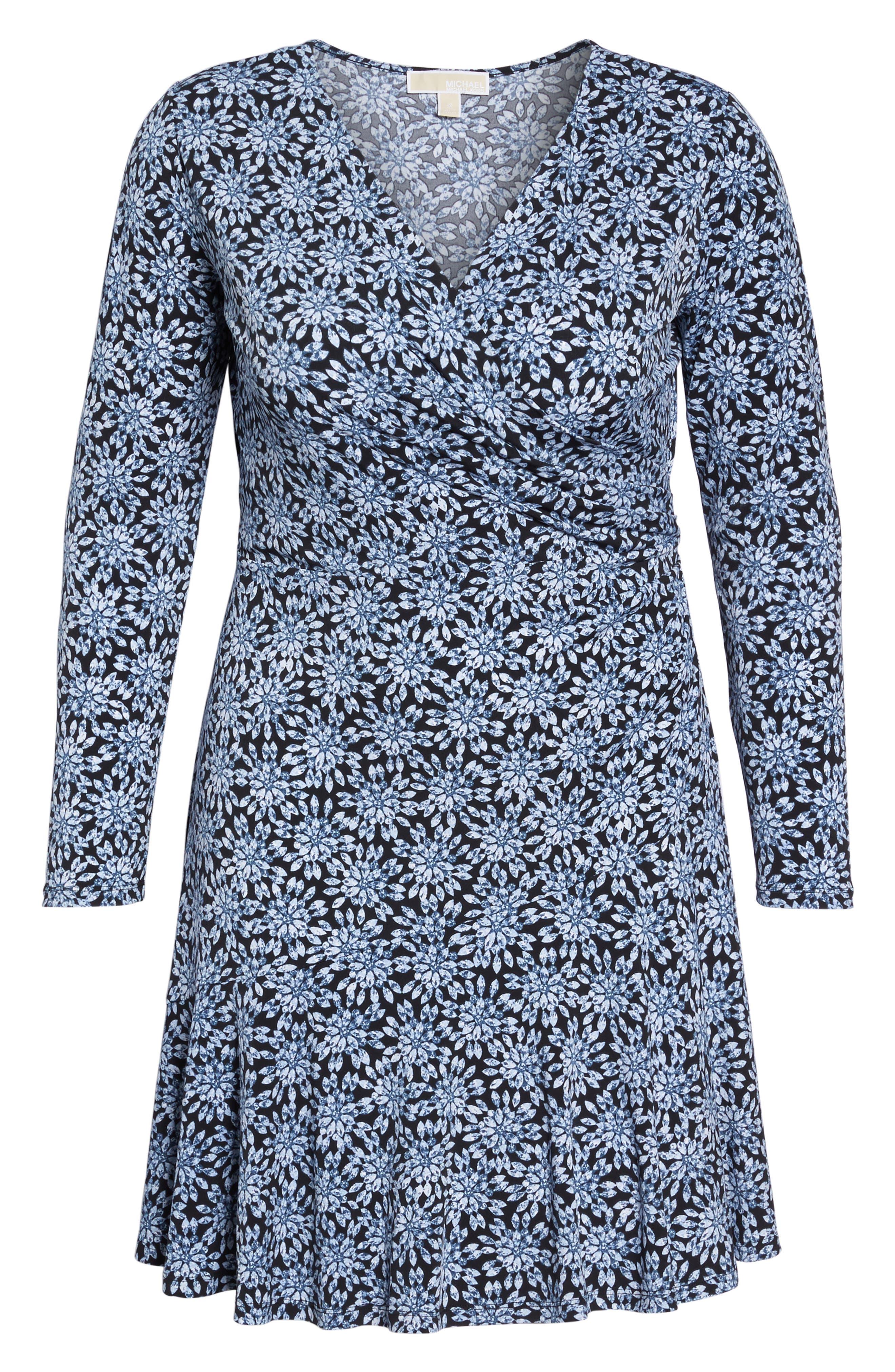 Print Faux Wrap Dress,                             Alternate thumbnail 6, color,                             468