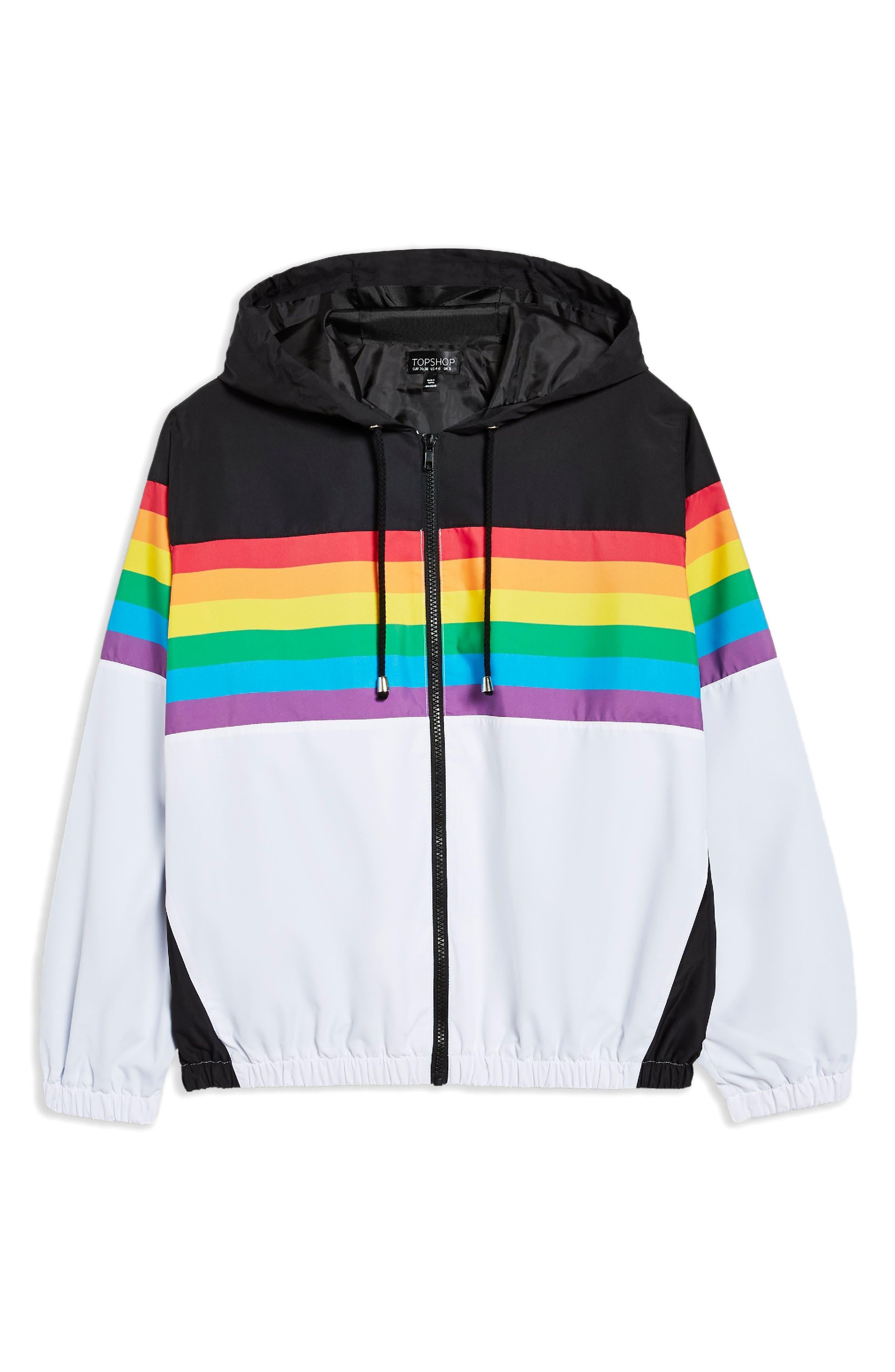Rainbow Windbreaker,                             Alternate thumbnail 5, color,                             WHITE MULTI