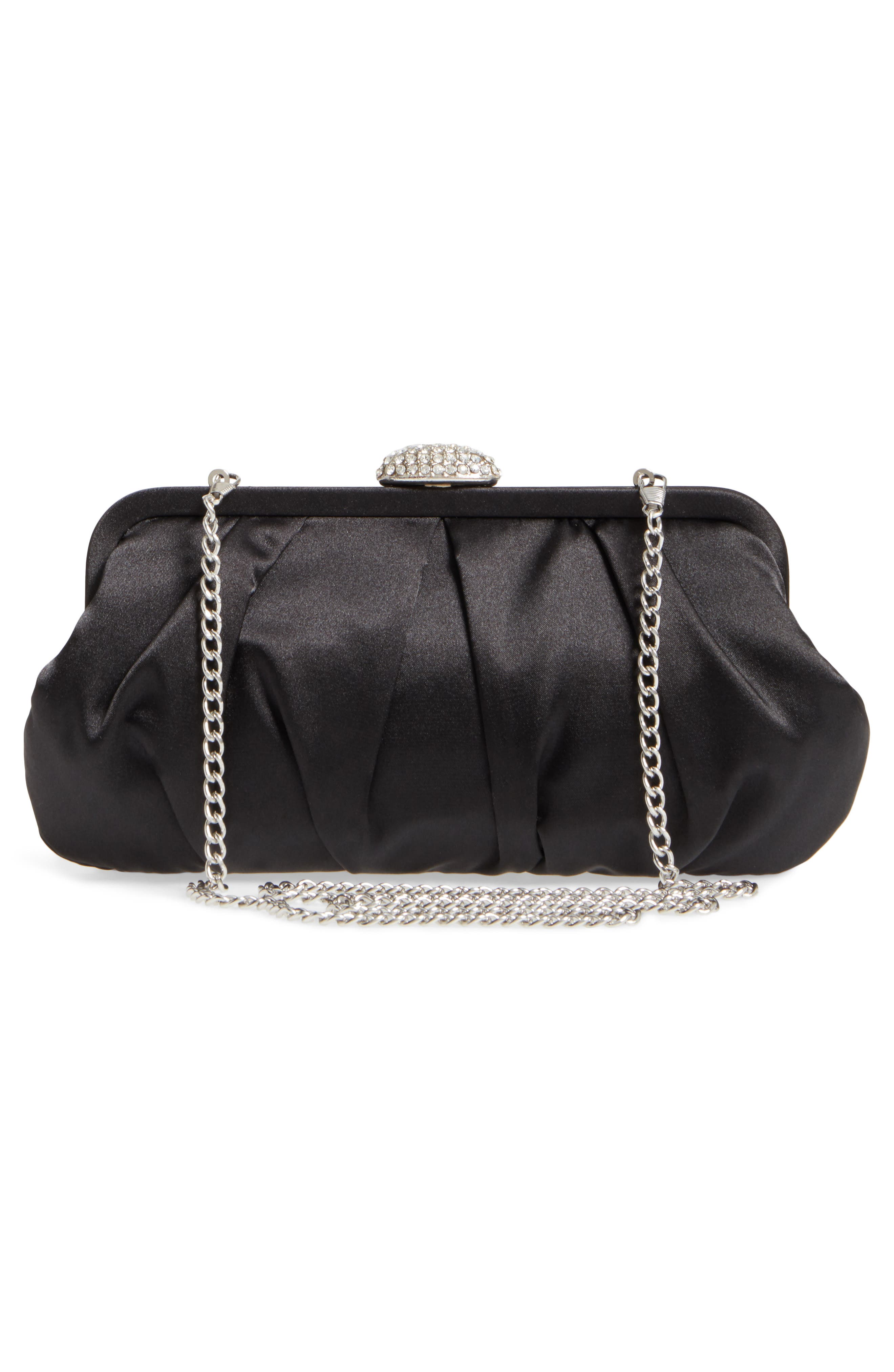 Concord Pleated Satin Frame Clutch,                             Alternate thumbnail 3, color,                             001