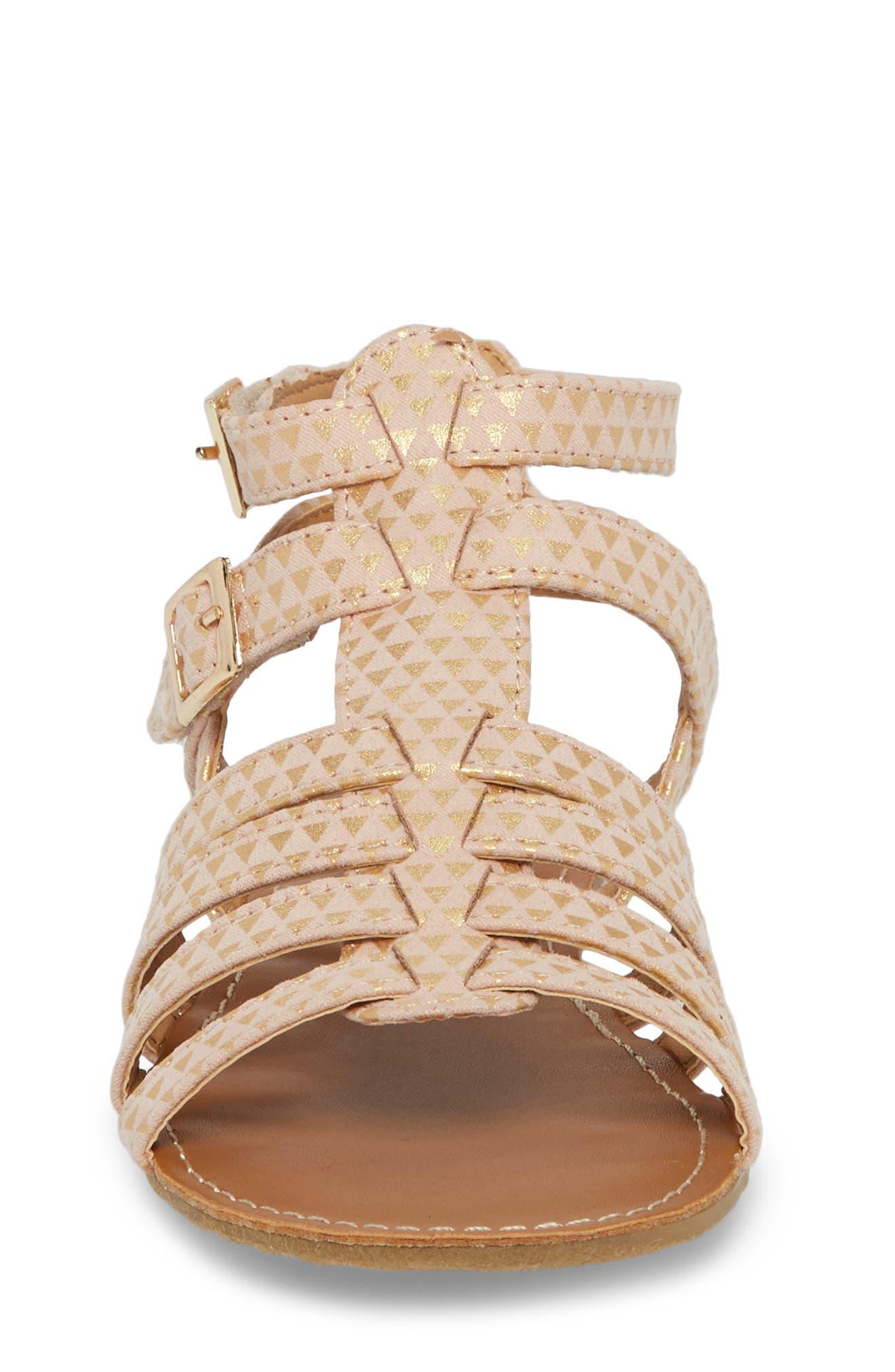 Kiera Bite Metallic Sandal,                             Alternate thumbnail 4, color,