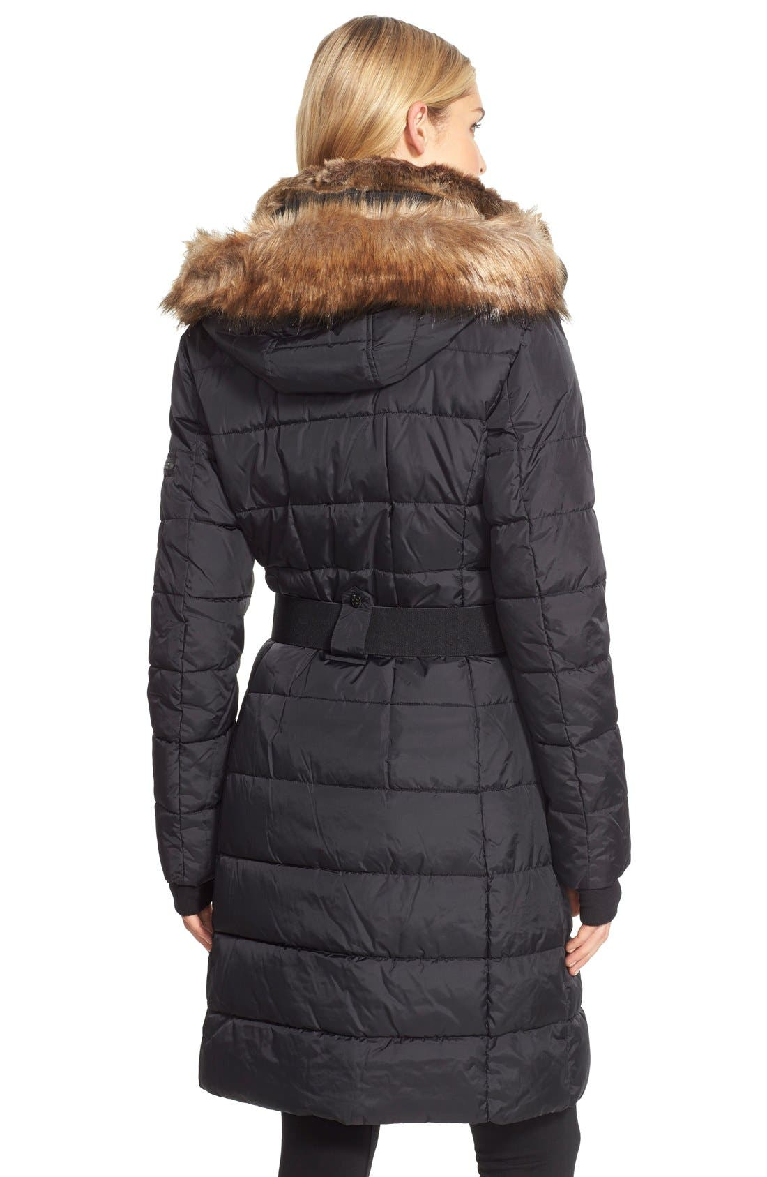 NYC 'Lexington' Faux Fur Trim Belted Hooded Long Quilted Coat,                             Alternate thumbnail 3, color,                             001