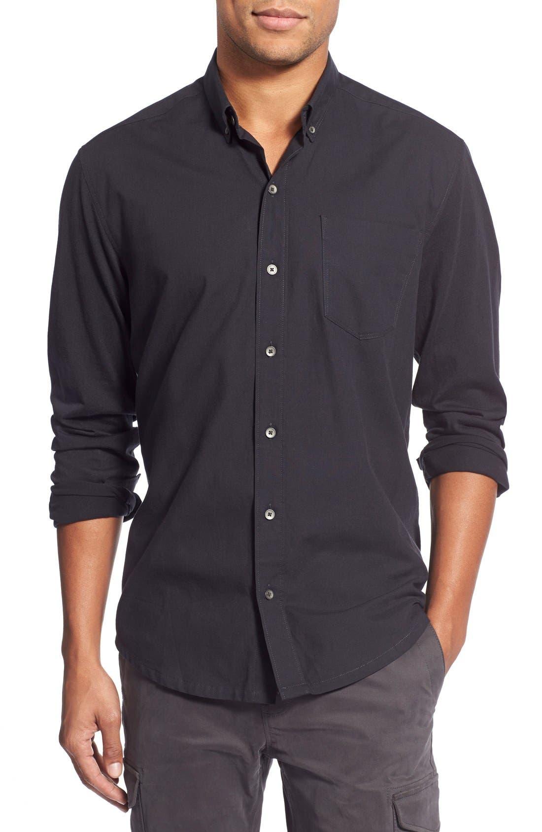 'Reworkd' Slim Fit Solid Mixed Media Sport Shirt,                             Main thumbnail 1, color,                             001