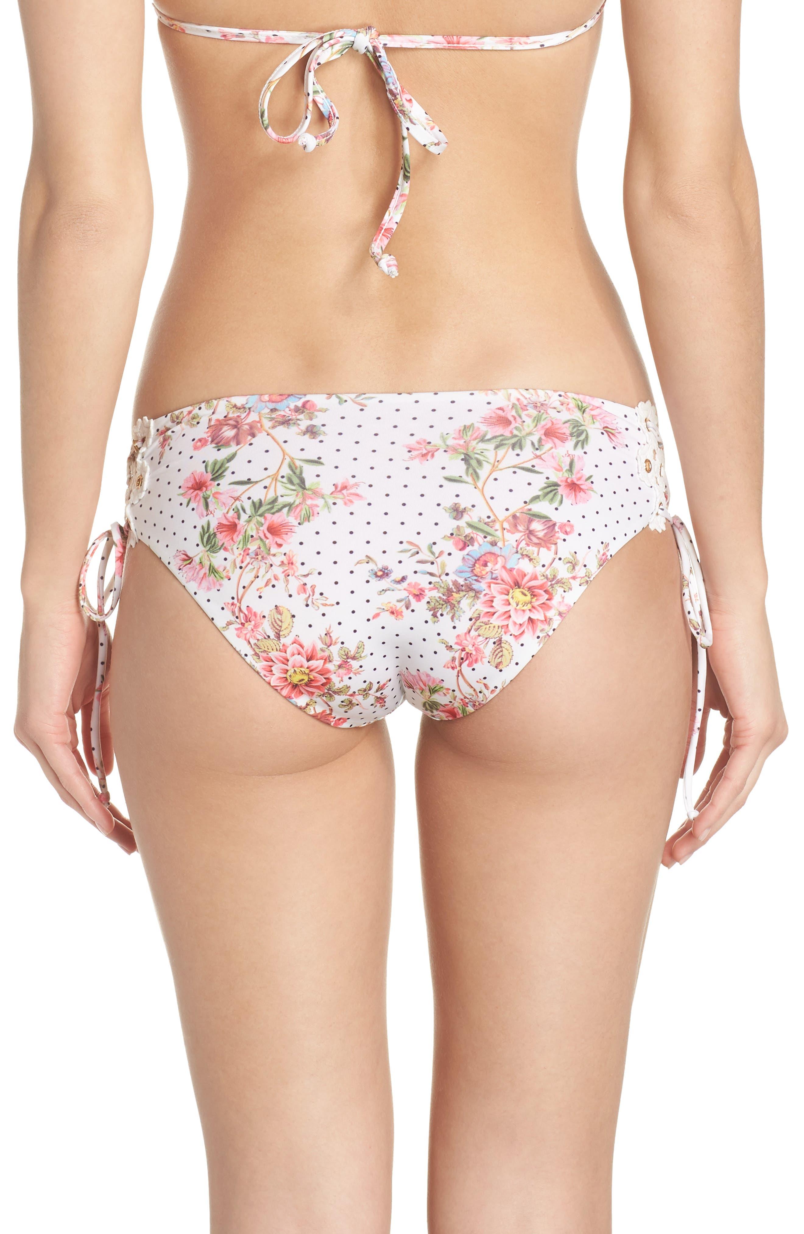 A Bit of Bubbly Lace-Up Bikini Bottoms,                             Alternate thumbnail 2, color,                             WHITE MULTI