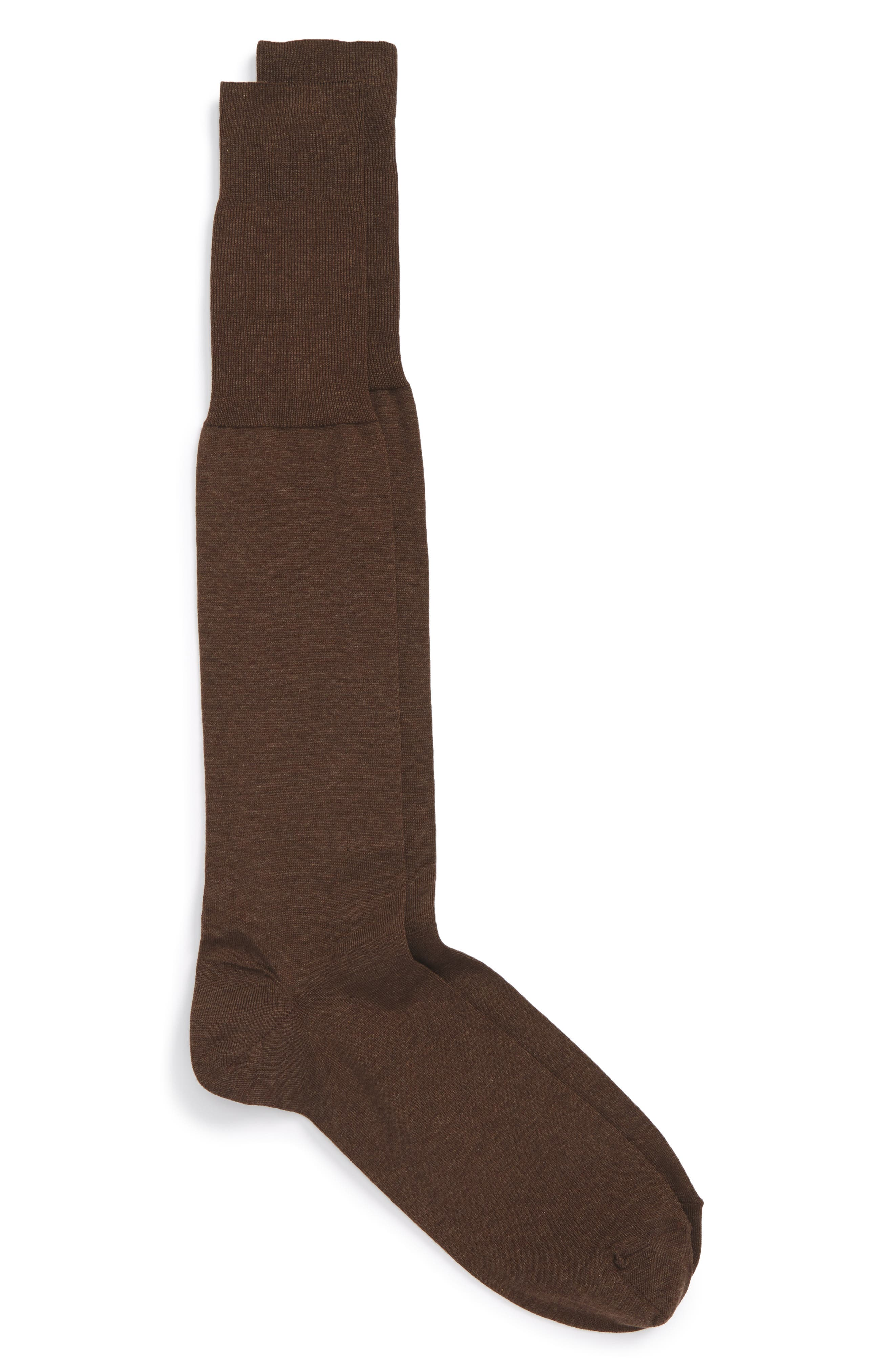 John W. Nordstrom Solid Over the Calf Socks,                             Main thumbnail 1, color,                             BROWN HEATHER