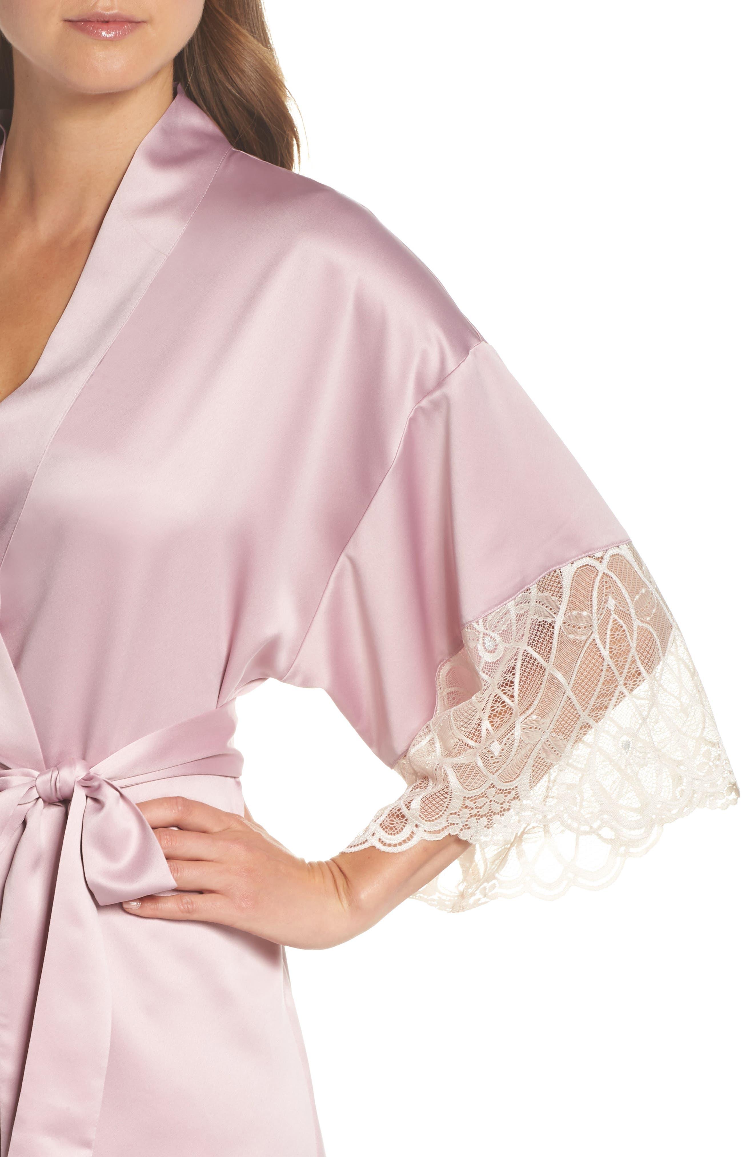 Gabby Satin Kimono Robe,                             Alternate thumbnail 4, color,                             FROSTED LILAC