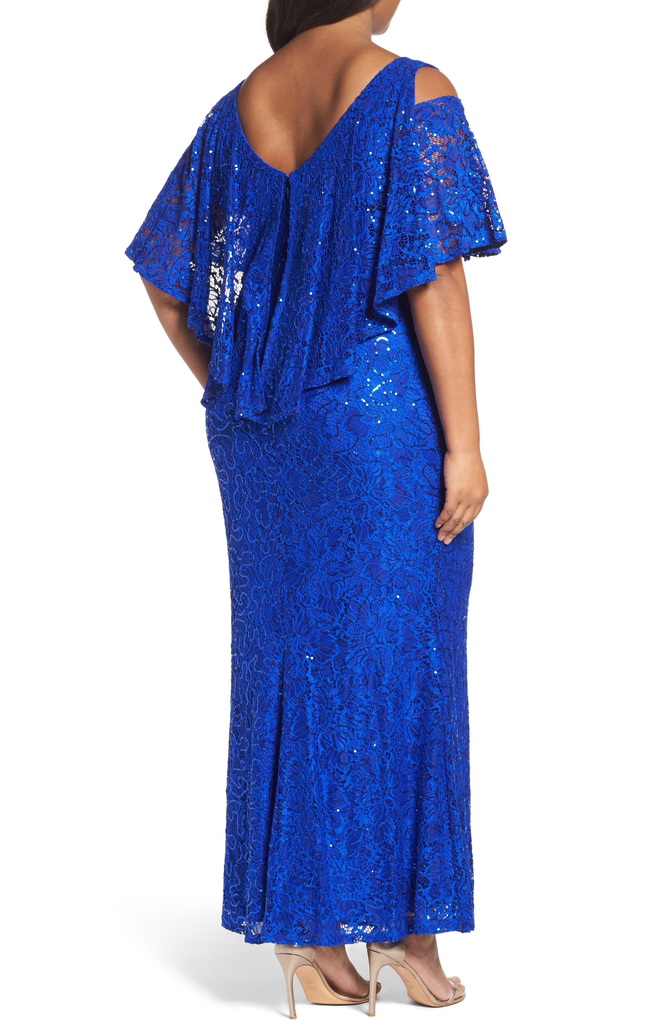 Sequin Lace Cold Shoulder Long Dress,                             Alternate thumbnail 6, color,