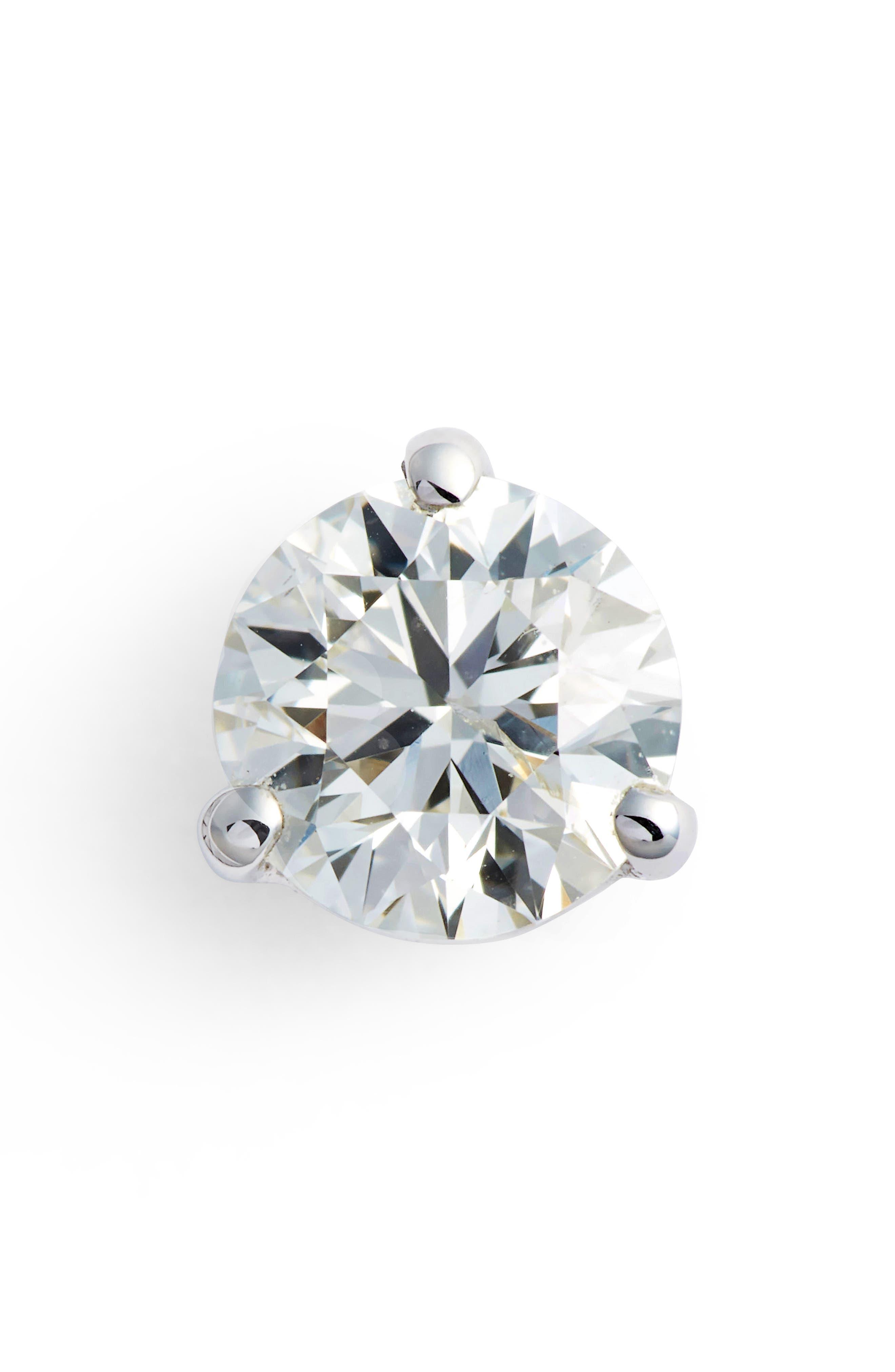 Single Diamond Stud Earring,                         Main,                         color, WHITE GOLD