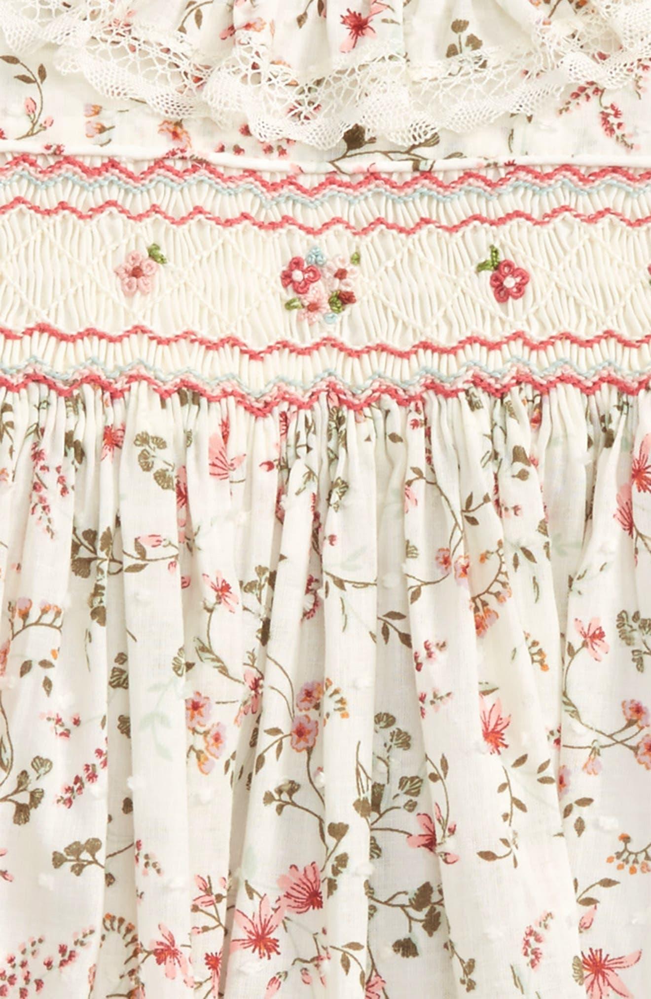 Floral Print Plumetis Smocked Dress,                             Alternate thumbnail 2, color,