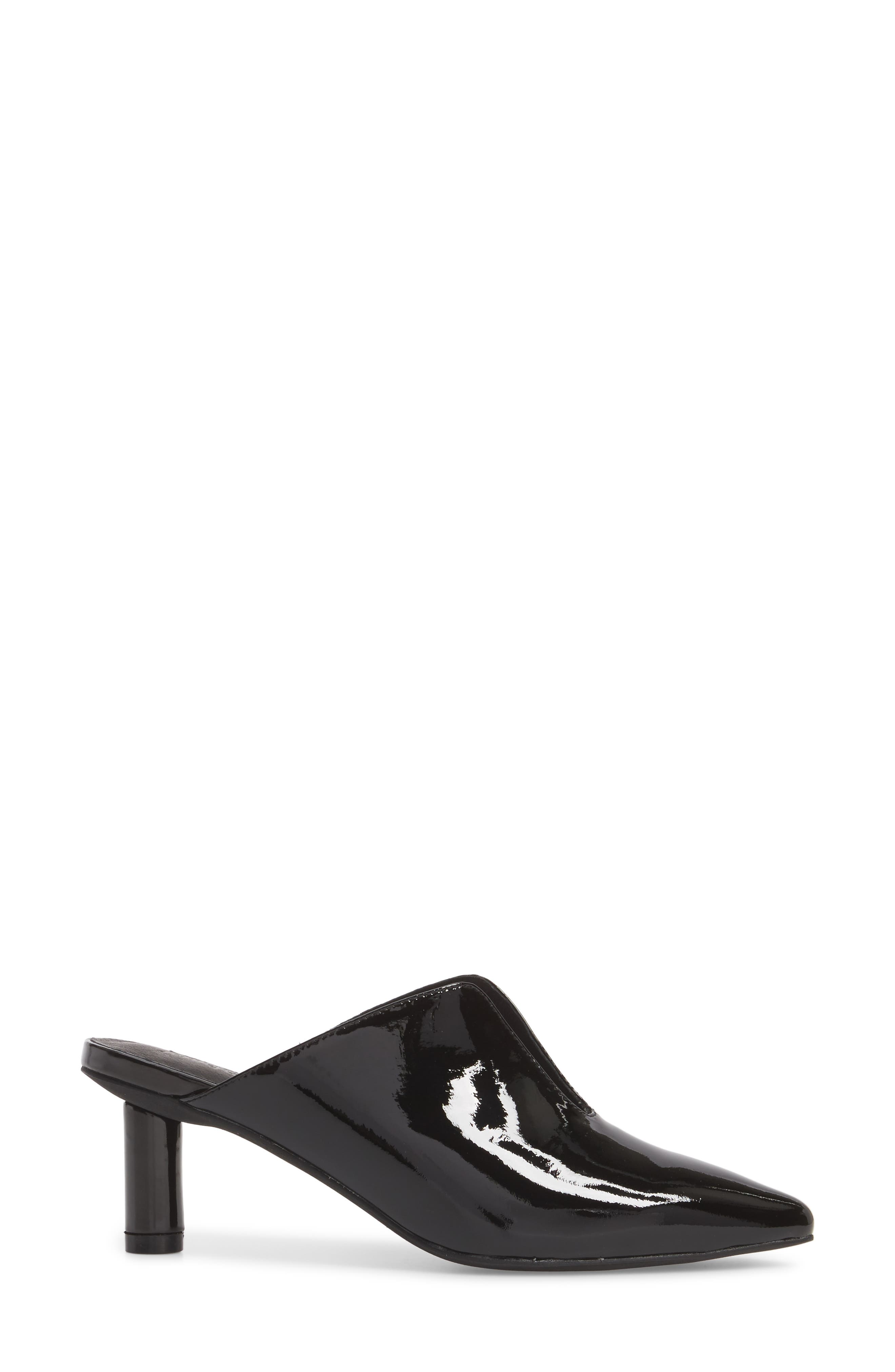 Saltaire Pointy Toe Mule,                             Alternate thumbnail 3, color,                             BLACK PATENT LEATHER