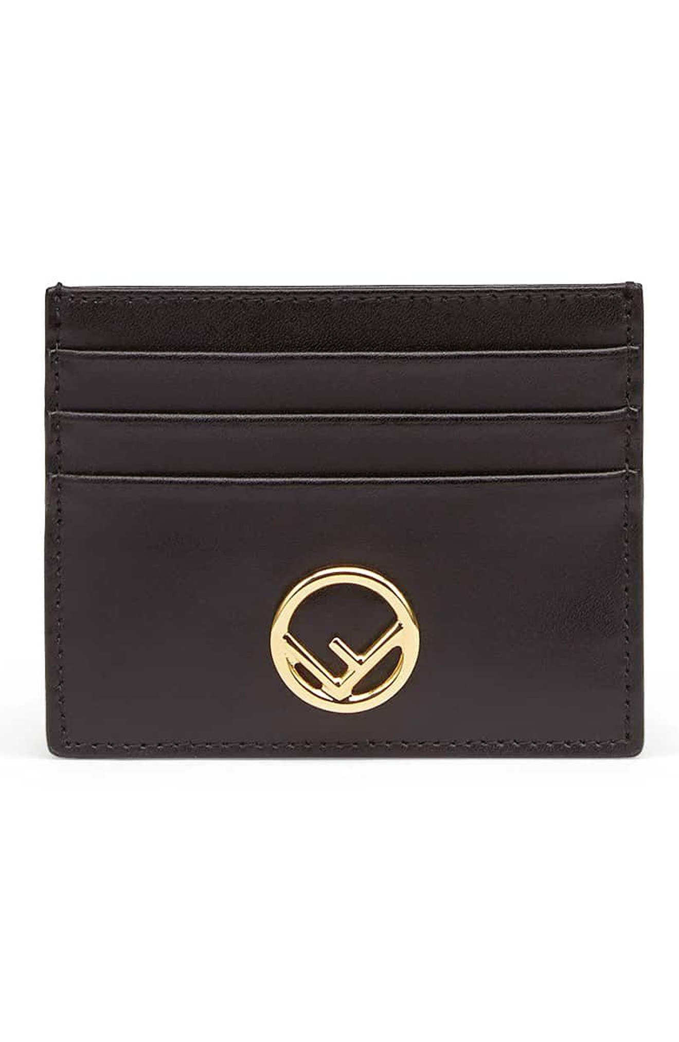 Logo Leather Card Case,                         Main,                         color, NERO/ ORO SOFT